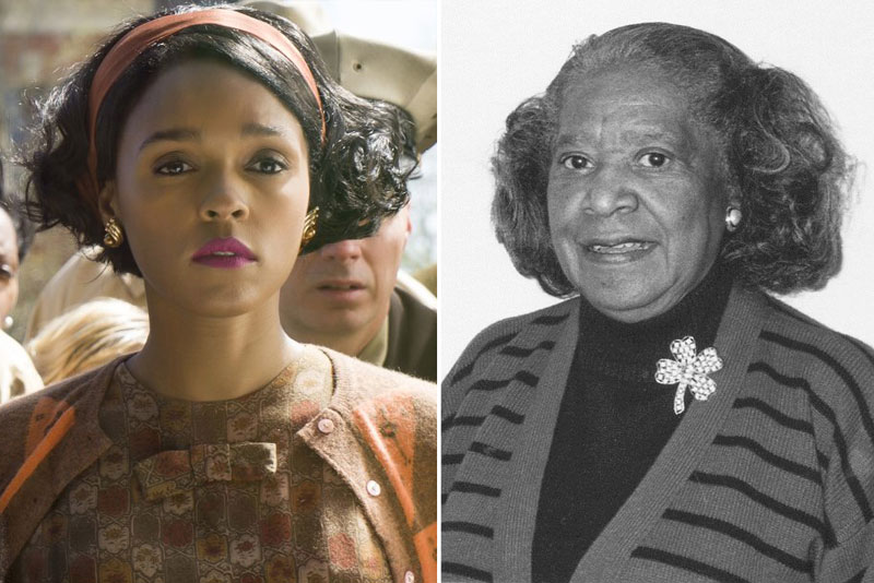 """Janelle Monáe in Hidden Figures (2016) Titles: Hidden Figures People: Janelle Monáe Photo by Photo Credit: Hopper Stone/Hopper Stone, SMPSP - © TM & © 2016 Twentieth Century Fox Film Corporation. All Rights Reserved. Not for sale or duplication. Female NASA employee Mary Jackson, who was part of a group of staff members known as """"human computers"""", 1965. Image courtesy NASA. (Photo via Smith Collection/Gado/Getty Images)."""