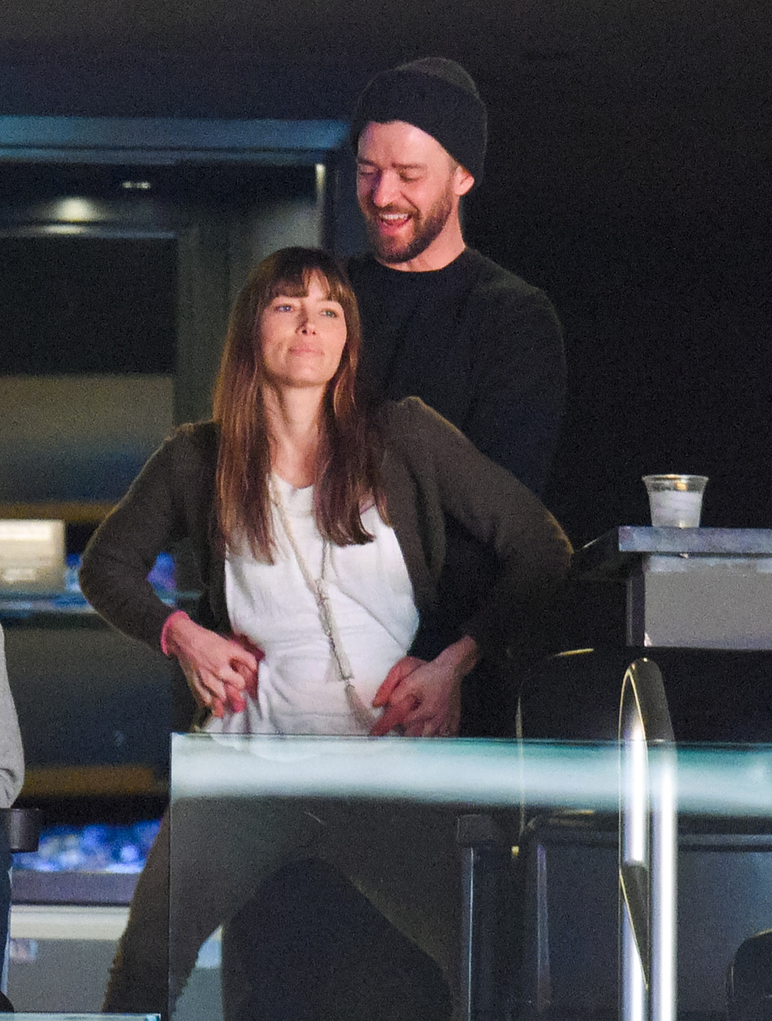LOS ANGELES, CA - JANUARY 03:  Justin Timberlake and Jessica Biel dance together at a basketball game between the Memphis Grizzlies and the Los Angeles Lakers at Staples Center on January 3, 2017 in Los Angeles, California.  (Photo by Noel Vasquez/Getty Images)