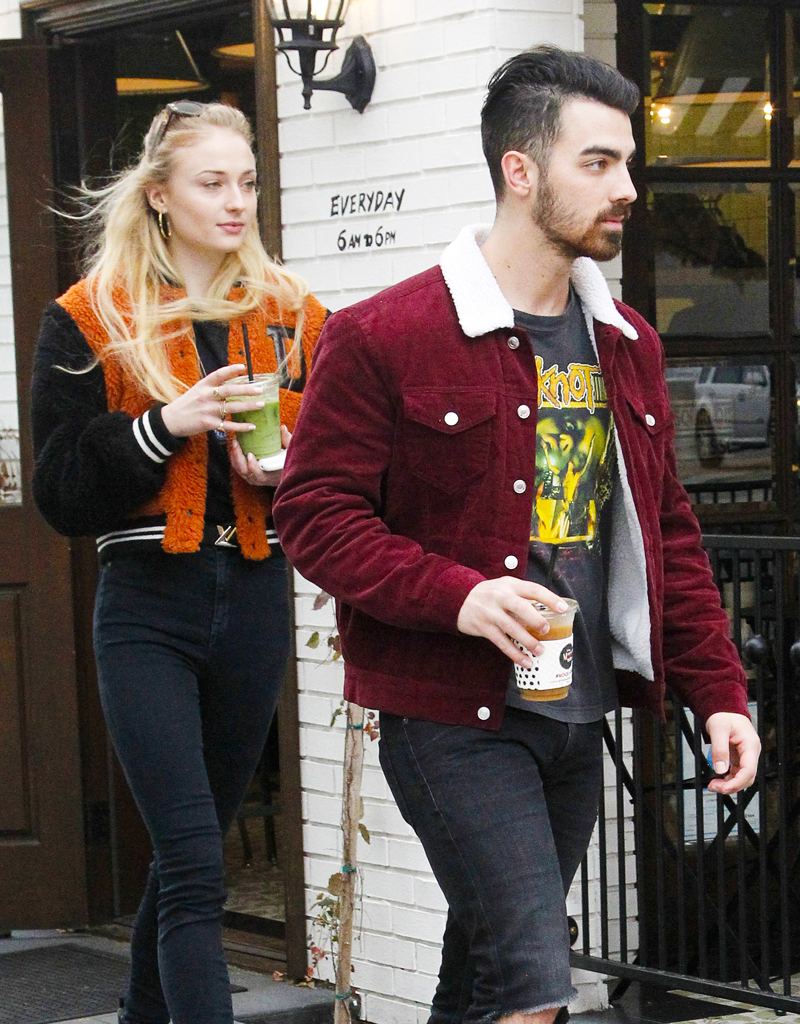 EXCLUSIVE:  Joe Jonas and Sophie Turner leave Alfred Coffee with colorfully-dresed DNCE band members Cole Whittle and JinJoo Lee on their way o the Belasco Theater for DNCE's first night of the tour