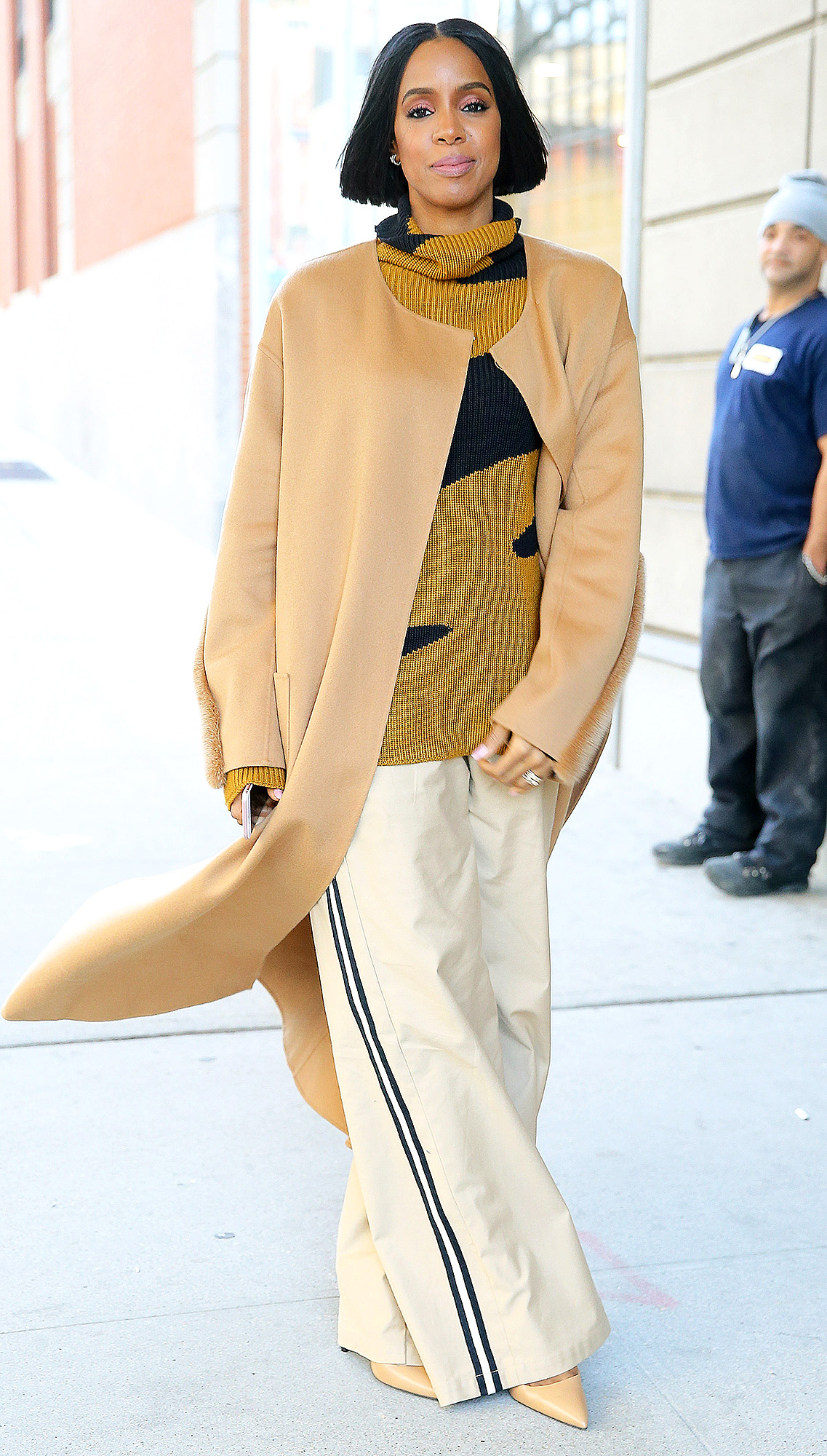 Kelly Rowland spotted wearing all tan ensemble in New York City