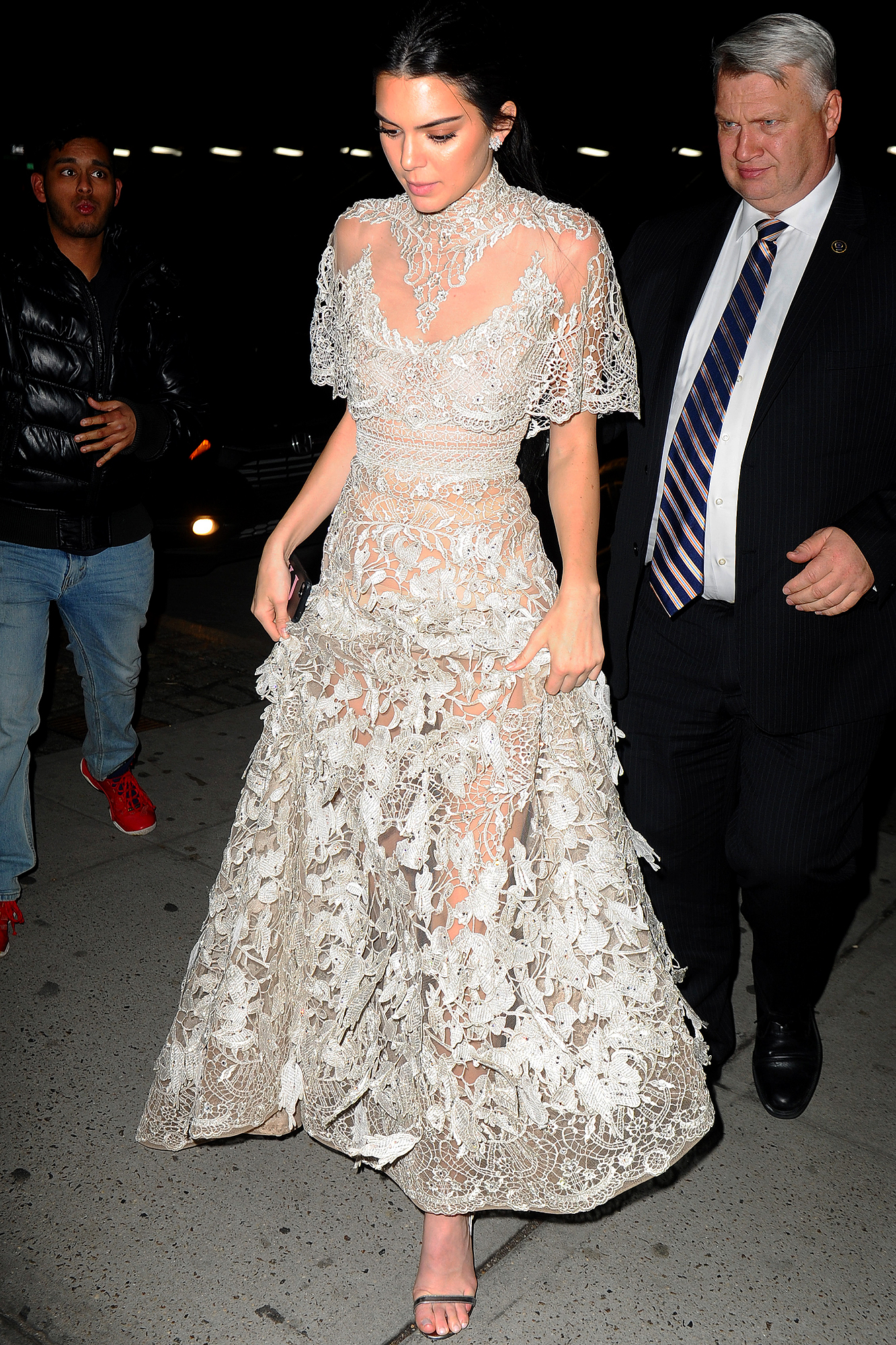Kendall Jenner looks stunning in a lace gown outside her apartment in New York City