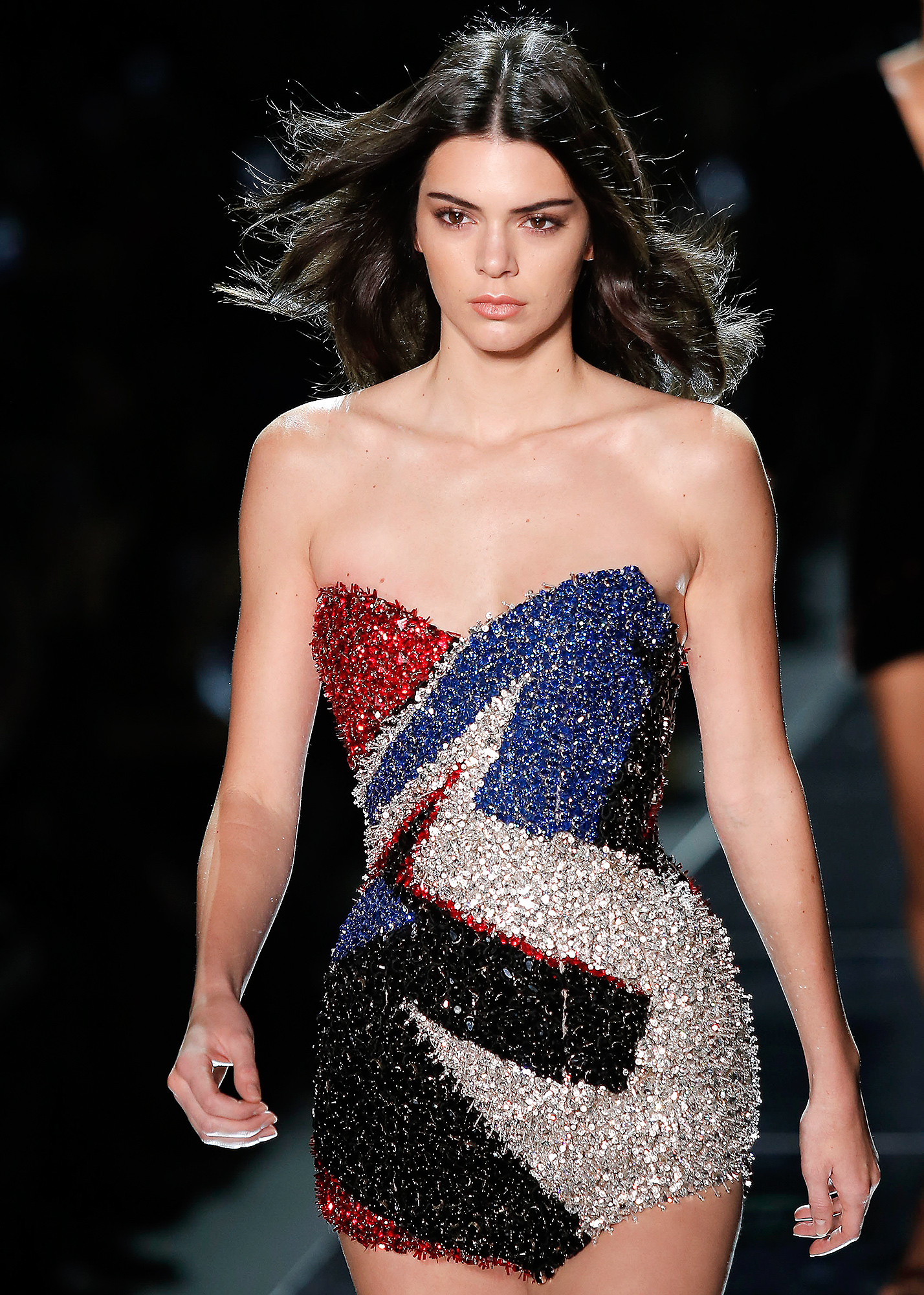Bella Hadid and Kendall Jenner walk the catwalk at the Alexandre Vauthier Fashion show, Paris Fashion Week.