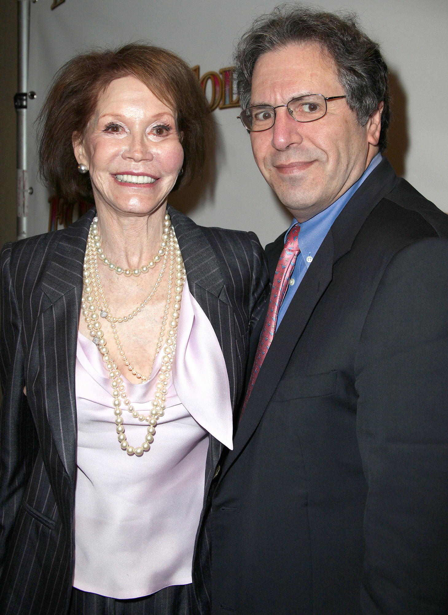Mary Tyler Moore & husband Dr. Robert Levine attending the Broadway Opening Night Performance of 'Follies' at the Marquis Theatre in New York City, (Photo by Walter McBride/Corbis via Getty Images)