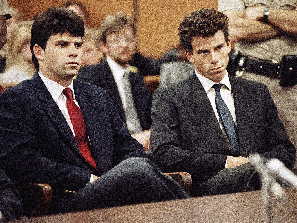 Lyle, left, and Erik Menendez sit in Beverly Hills Municipal Court where their attorneys delayed making pleas on behalf of the brothers who are suspected in the murders of their millionaire parents, Jose and Mary Louise Menendez, March 12, 1990.