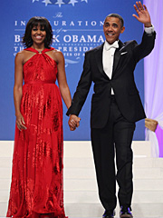 US President Barack Obama and first lady Michelle Obama arrive for the Inaugural Bal at the Walter E. Washington Convention Center, in Washington, DC, USA, 21 January 2013.