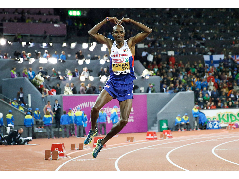 Britain's Mo Farah dances as he celebrates winning the gold medal in the men's 10,000m final during the European Athletics Championships in Zurich, Switzerland