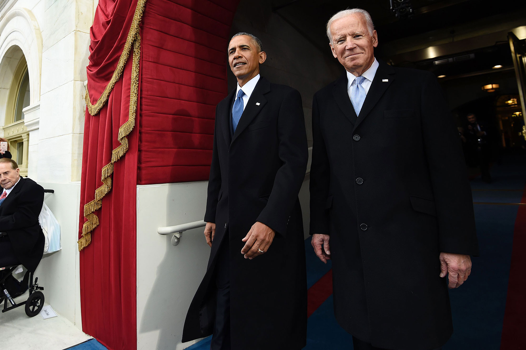 US President Barack Obama and Vice President Joe Biden arrive for the Presidential Inauguration of Donald Trump at the US Capitol in Washington, DC, on January 20, 2017. / AFP / POOL / SAUL LOEB (Photo credit should read SAUL LOEB/AFP/Getty Images)
