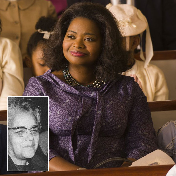 """Taraji P. Henson, Octavia Spencer, and Janelle Monáe in Hidden Figures (2016) Titles: Hidden Figures People: Taraji P. Henson, Octavia Spencer, Janelle Monáe Characters: Katherine Johnson, Dorothy Vaughn Photo by Photo Credit: Hopper Stone/Hopper Stone, SMPSP - © TM & © 2016 Twentieth Century Fox Film Corporation. All Rights Reserved. Not for sale or duplication. Female NASA employees, hired to perform mathematics calculations and known as """"human computers"""", including (L-R) Dorothy Vaughan, Leslie Hunter, and Vivian Adair, 1950. Image courtesy NASA. (Photo via Smith Collection/Gado/Getty Images)."""