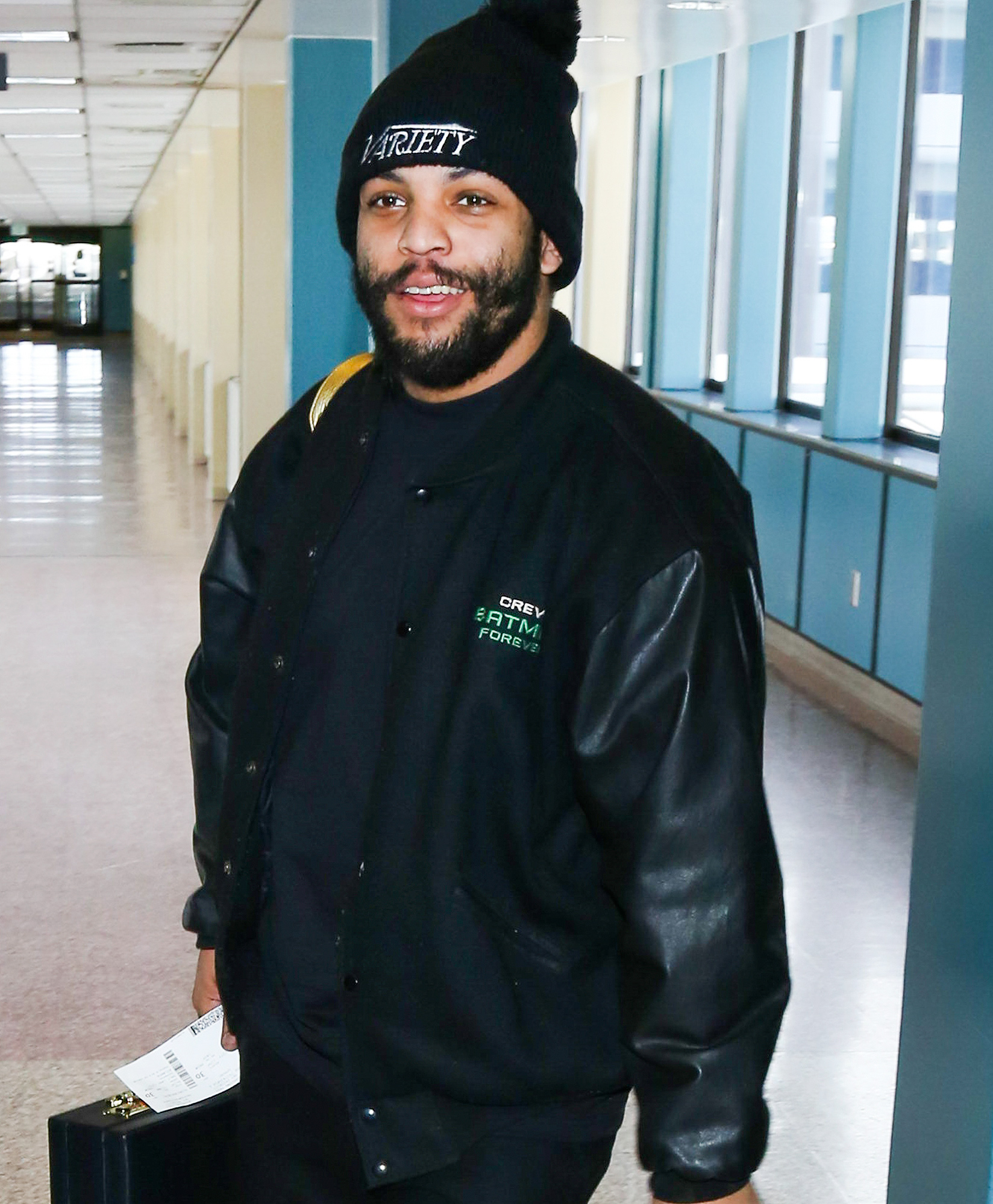 O'Shea Jackson Jr. is all smiles at the SLC Airport ahead of the Sundance Film Festival