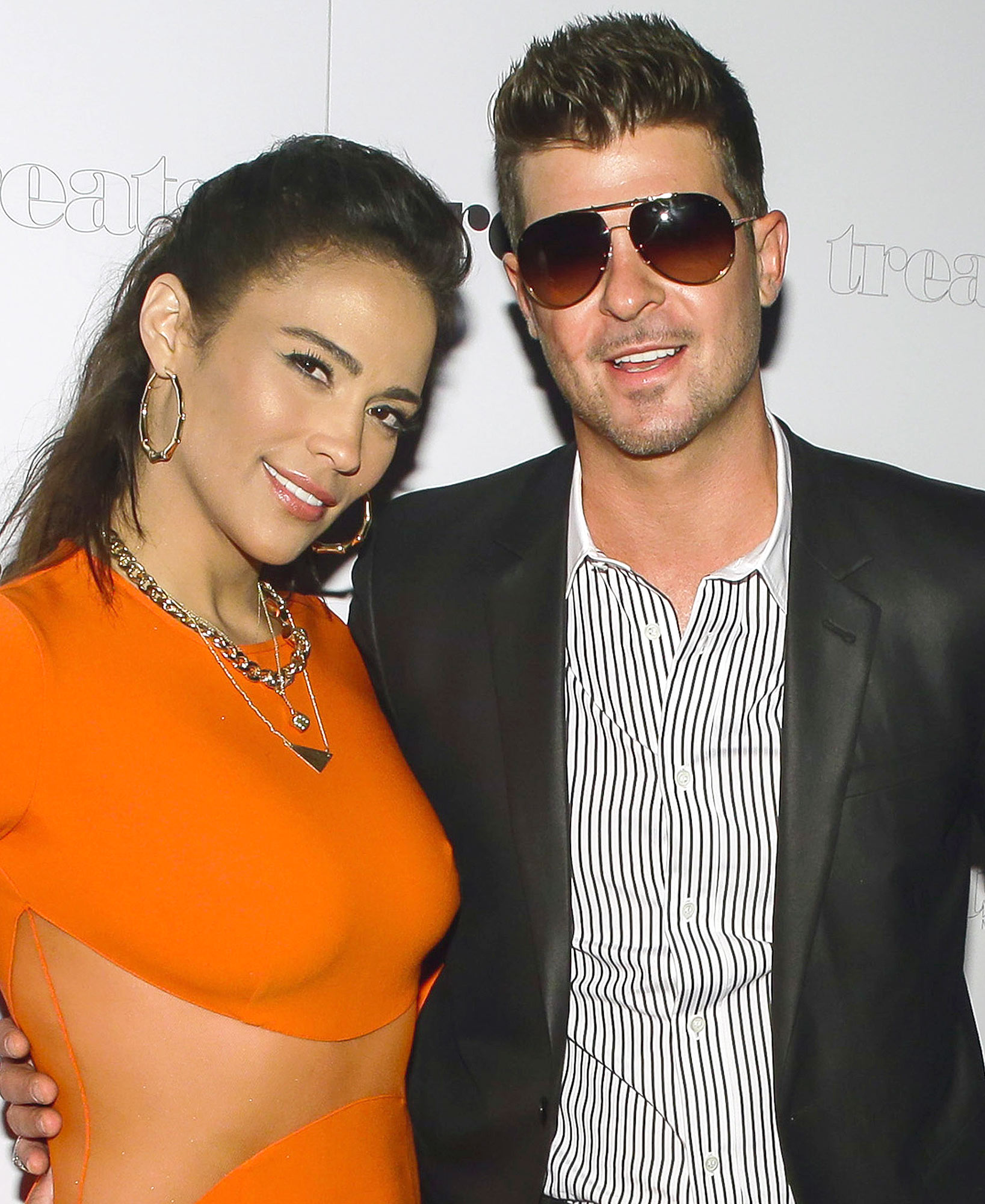 NEW YORK, NY - SEPTEMBER 04: (L-R) Paula Patton and Robin Thicke attend Robin Thicke's Album Release Party at No. 8 on September 4, 2013 in New York City. (Photo by Andrew Toth/WireImage)