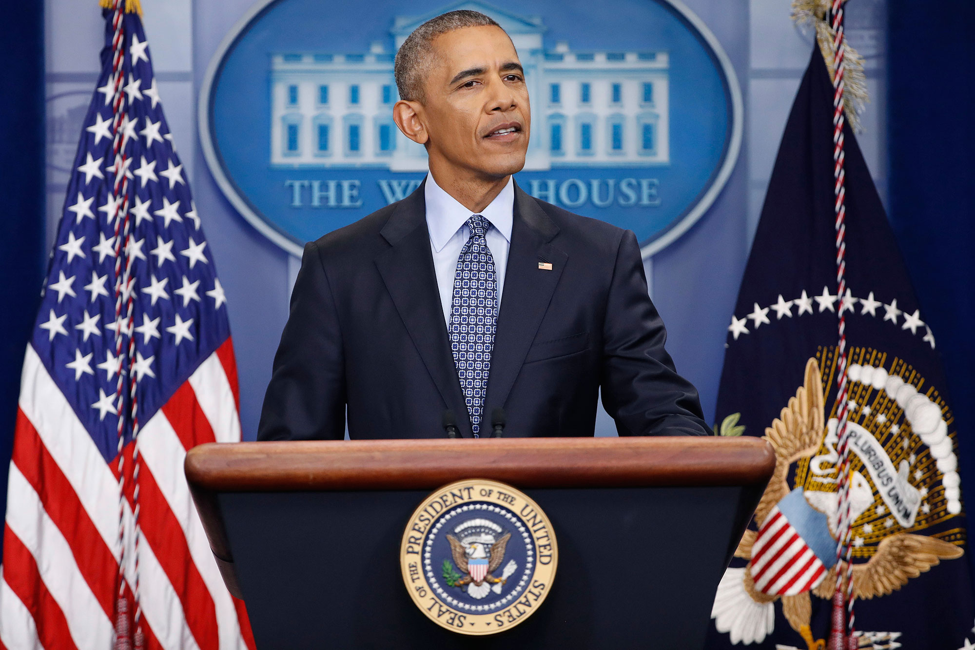President Barack Obama speaks during his final presidential news conference, Wednesday, Jan. 18, 2017, in the briefing room of the White House in Washington. (AP Photo/Pablo Martinez Monsivais)