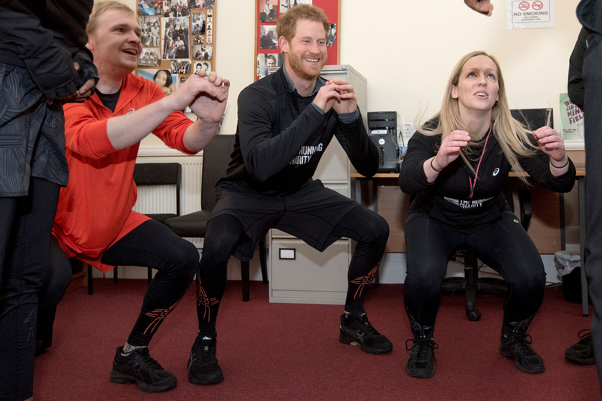 LONDON, UNITED KINGSDOM - JANUARY 26: Prince Harry warms-up with staff and users of The Running Charity, which is the UK's first running-orientated programme for homeless and vulnerable young people, on January 26, 2017 in Willesden, north west London, England. (Photo by Geoff Pugh-WPA 3Images)