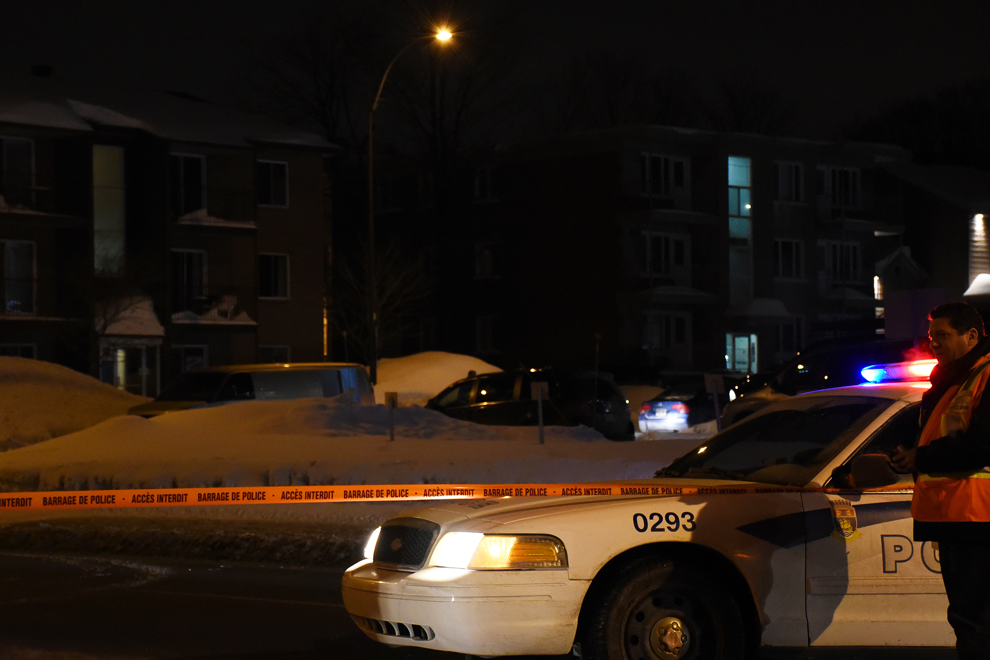 At around 2:30am Quebec City Police Service and Surete du Quebec start to investigate the apartment of one of the presumed suspects in the Mosque shooting that killed at least six people on January 30, 2017. On Rue Pouliot, only 30 seconds by car from the Mosque, the police blocked the street and entered an apartment in Montreal, Quebec, Canada.