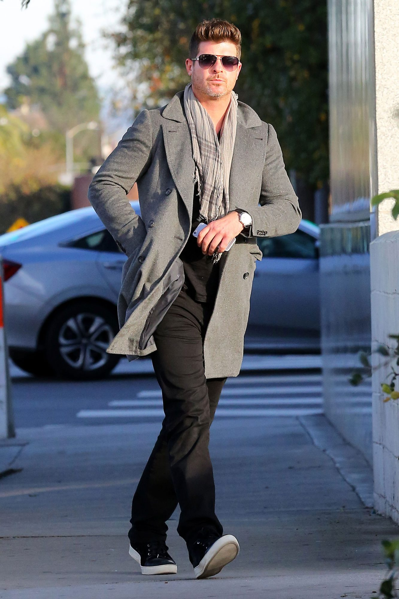 Paula Patton and Robin Thicke Leave the Same Building after a Meeting in LA
