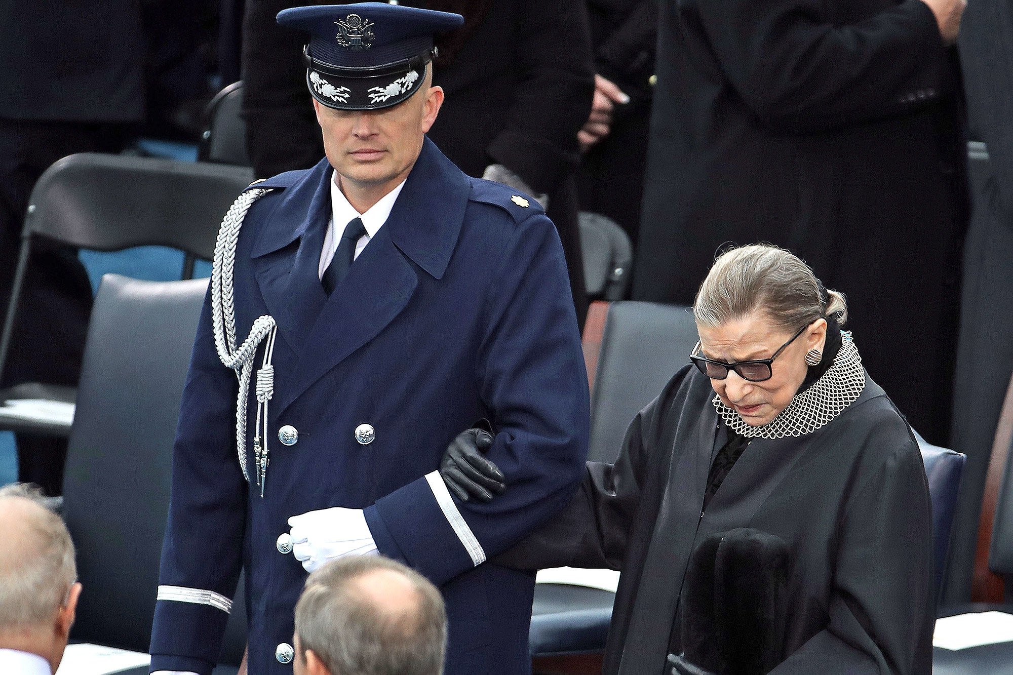 WASHINGTON, DC - JANUARY 20: Supreme Court Justice Ruth Bader Ginsburg arrives on the West Front of the U.S. Capitol on January 20, 2017 in Washington, DC. In today's inauguration ceremony Donald J. Trump becomes the 45th president of the United States. (Photo by Drew Angerer/Getty Images)