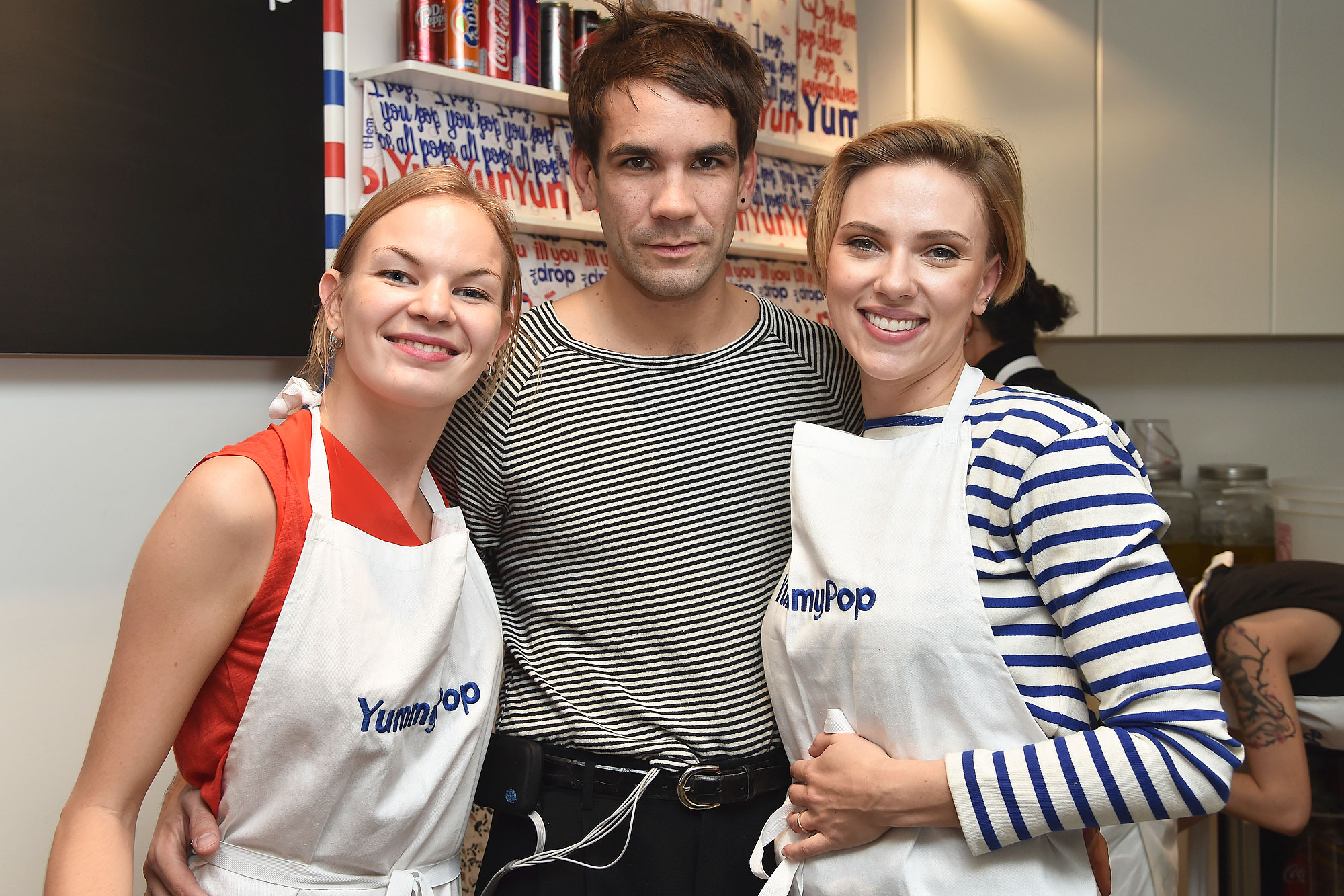 PARIS, FRANCE - OCTOBER 22: (L-R) Victoria Chevalier, Romain Dauriac and Scarlett Johansson attend the opening of the Yummy Pop shop where Scarlett Johansson opens the new store Yummy Pop in Le Marais, Paris on October 22, 2016 in Paris, France. (Photo by Pascal Le Segretain/Getty Images for Yummy Pop)