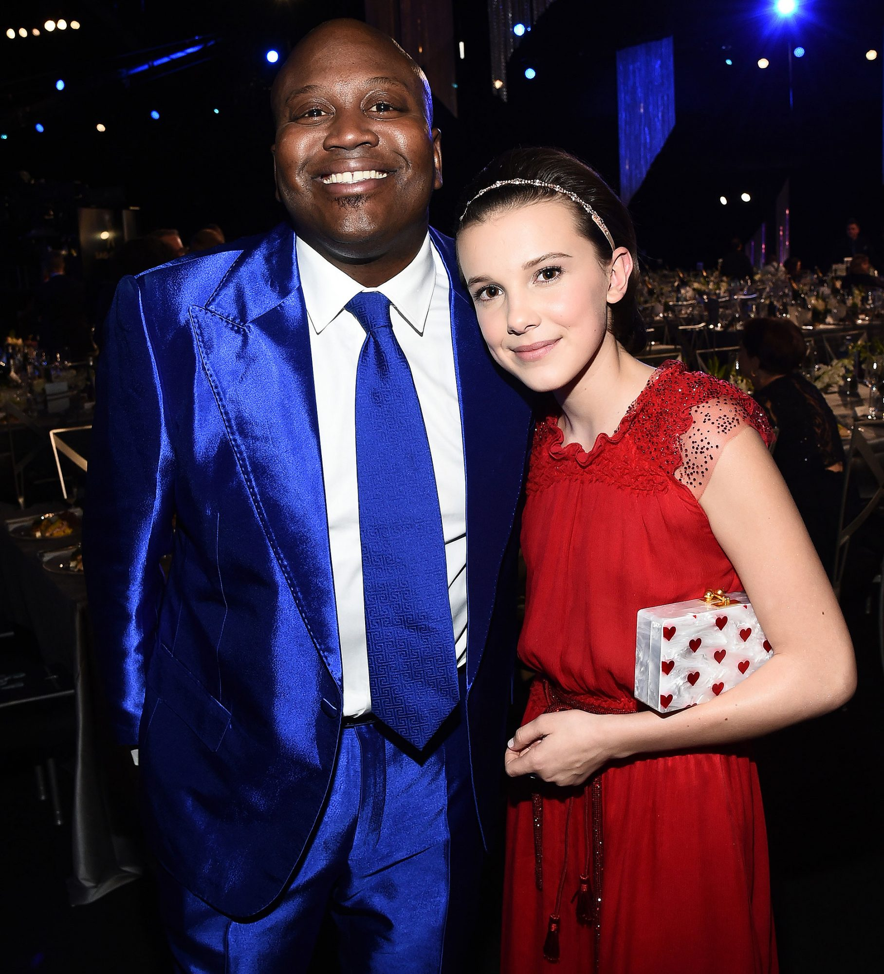 Mandatory Credit: Photo by Buckner/Variety/REX/Shutterstock (8137132e) Tituss Burgess and Millie Bobby Brown The 23rd Annual Screen Actors Guild Awards, Cocktail Party, Los Angeles, USA - 29 Jan 2017