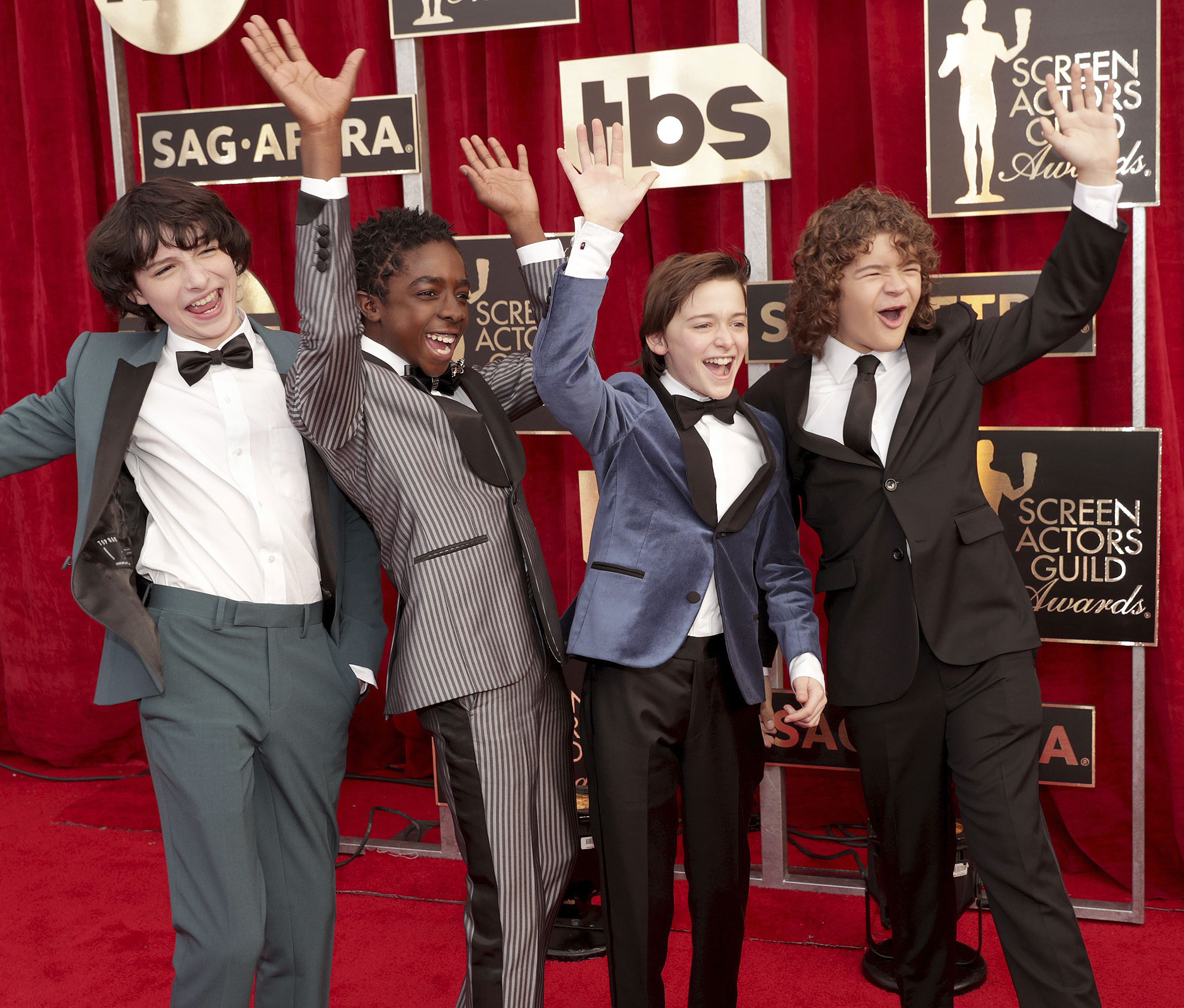 Finn Wolfhard, Caleb McLaughlin, Noah Schnapp and Gaten Matarazzo seen at the 23rd Annual SAG Awards on Sunday, Jan. 29, 2017, in Los Angeles. (Photo by Eric Charbonneau/Invision for People Magazine/AP Images)