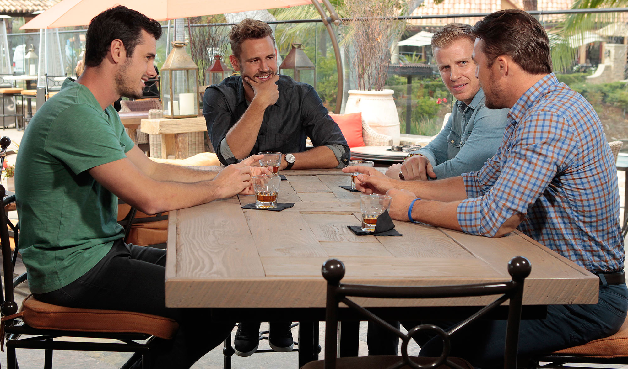 "THE BACHELOR - ""Episode 2101"" - A trio of popular former Bachelors - Sean Lowe, Chris Soules and Ben Higgins –offer their support and encouragement to Nick, who will face all new pressures and responsibilities on the highly anticipated 21st season premiere of ""The Bachelor,"" MONDAY, JANUARY 2 (8:00-10:00 P.M., ET), on the ABC Television Network. (ABC/Rick Rowell) BEN HIGGINS, NICK VIALL, SEAN LOWE, CHRIS SOULES"
