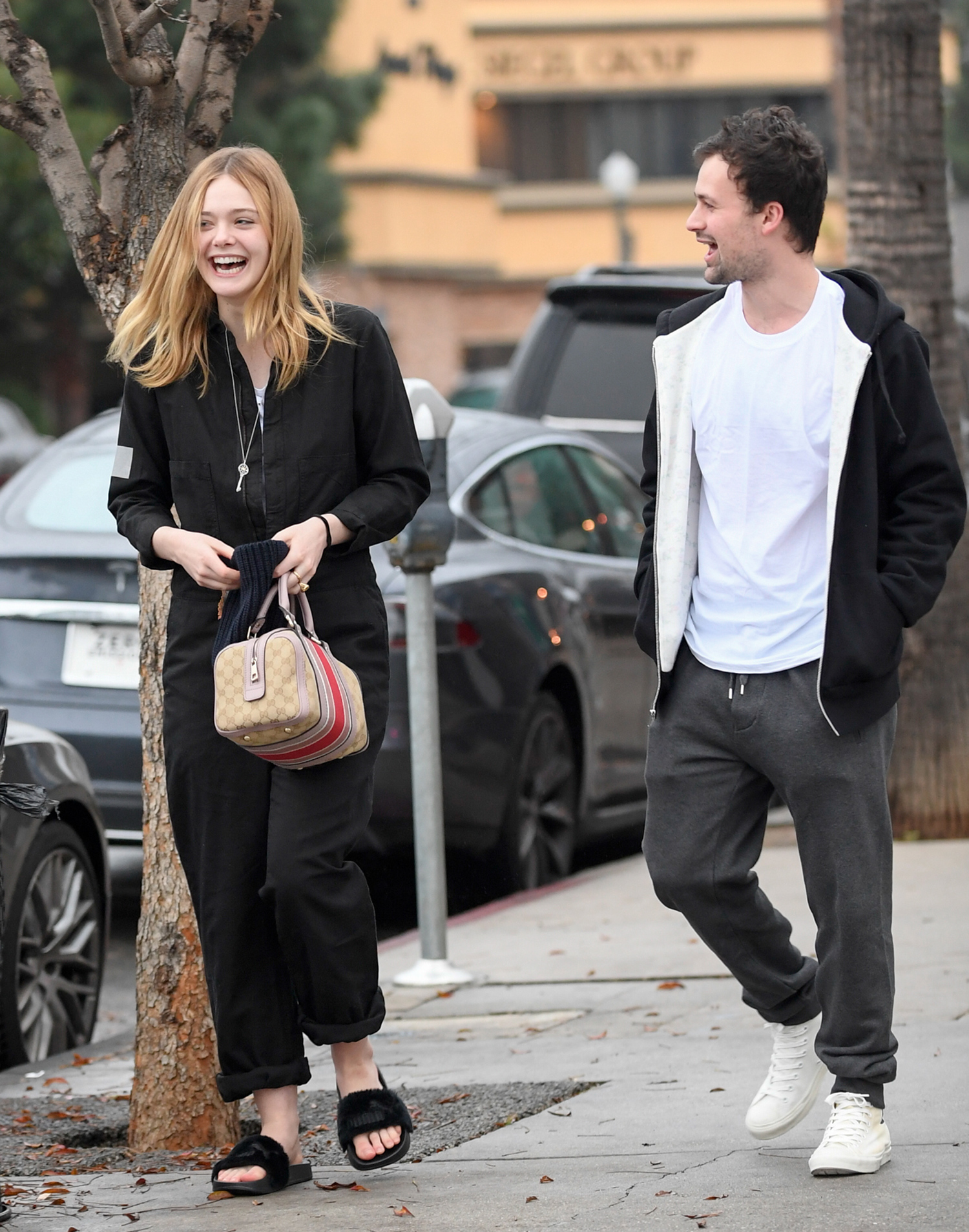 EXCLUSIVE: Elle Fanning and boyfriend Dylan Beck leave a late lunch in Studio City
