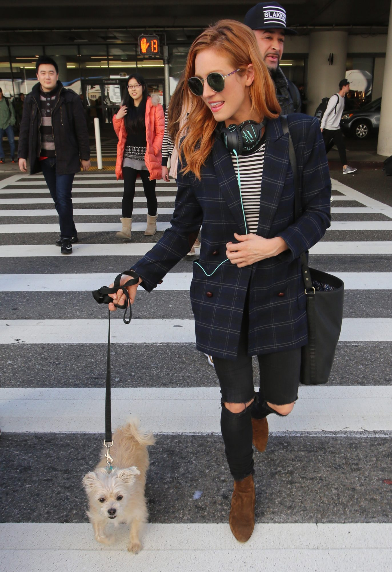 *EXCLUSIVE* Brittany Snow arrives back to LAX with her precious pooch - Part 2