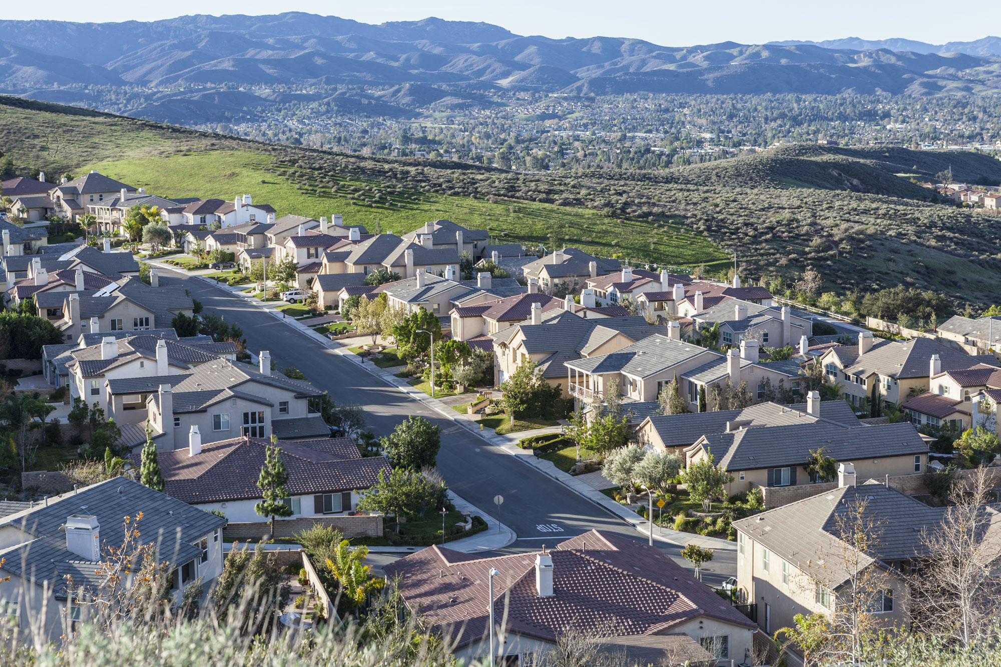 Early morning view of hillside California suburban housing in Simi Valley, Ventura County near Los Angeles.