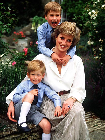 Official portrait of Britain's HRH The Princess of Wales with sons, Princess William (older) and Prince Harry at home in Highgrove, Gloucestershire, in August 1988, on the occasion of Prince Charles' 40th birthday