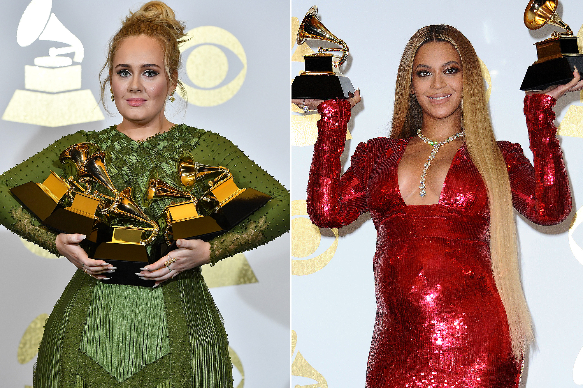 Adele, winner of Best Pop Vocal Album, Best Pop Solo Performance, Song of the Year, Record of the Year, and Album of the Year, poses in the press room during The 59th GRAMMY Awards at STAPLES Center on February 12, 2017 in Los Angeles, California/ Beyonce poses in the press room at the 59th GRAMMY Awards at Staples Center on February 12, 2017 in Los Angeles, California.