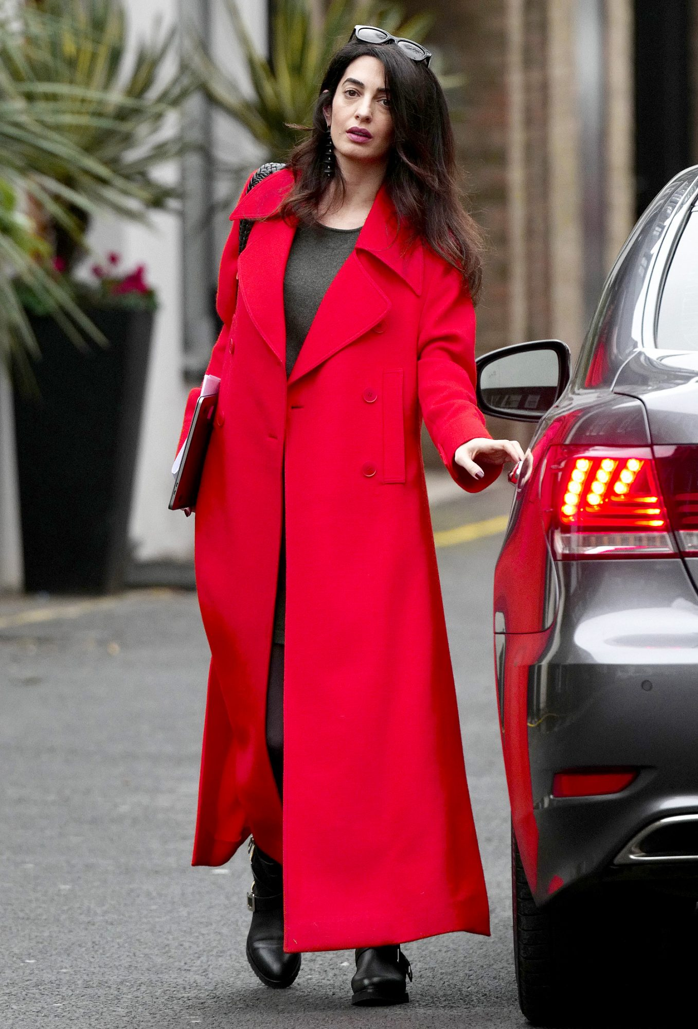 EXCLUSIVE: **PREMIUM EXCLUSIVE RATES APPLY**MUST AGREE FEES** Pregnant Amal Clooney is seen looking radiant whilst out and about in London.