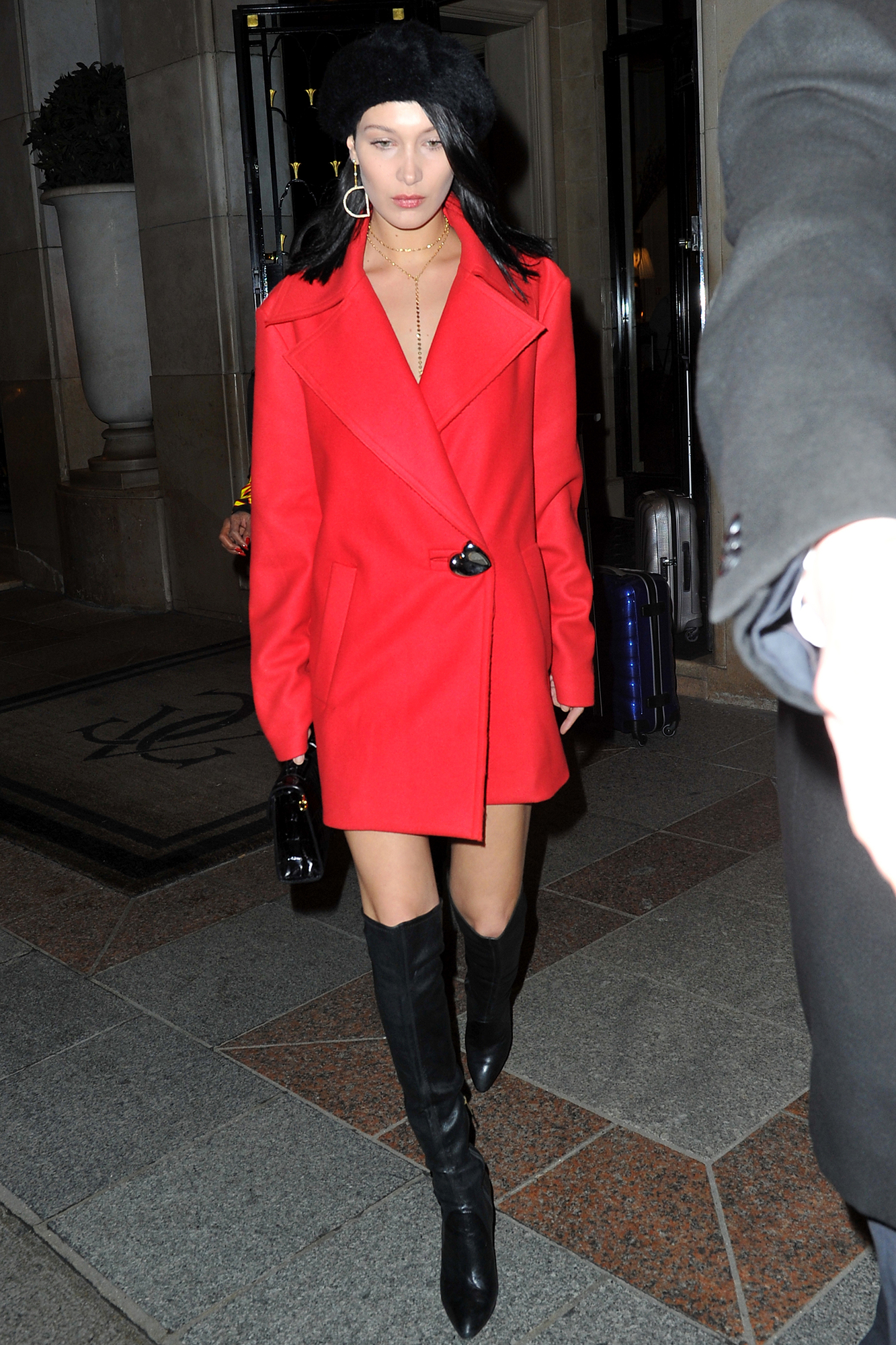 Bella Hadid leaves her hotel in Paris, France.