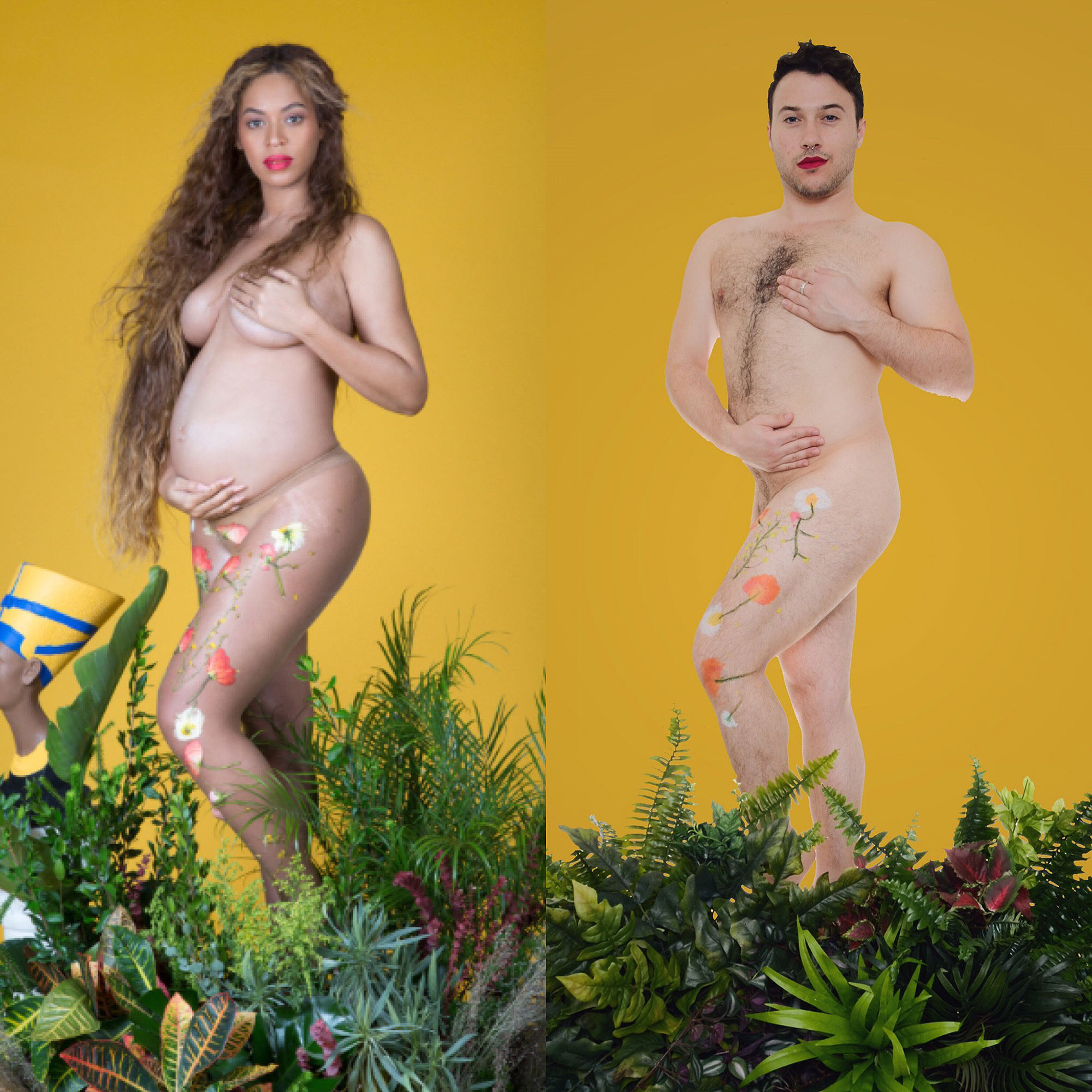 L.A.-based actor Ben Yahr recreated Beyonce's pregnancy photo shoot to send a body positive message.