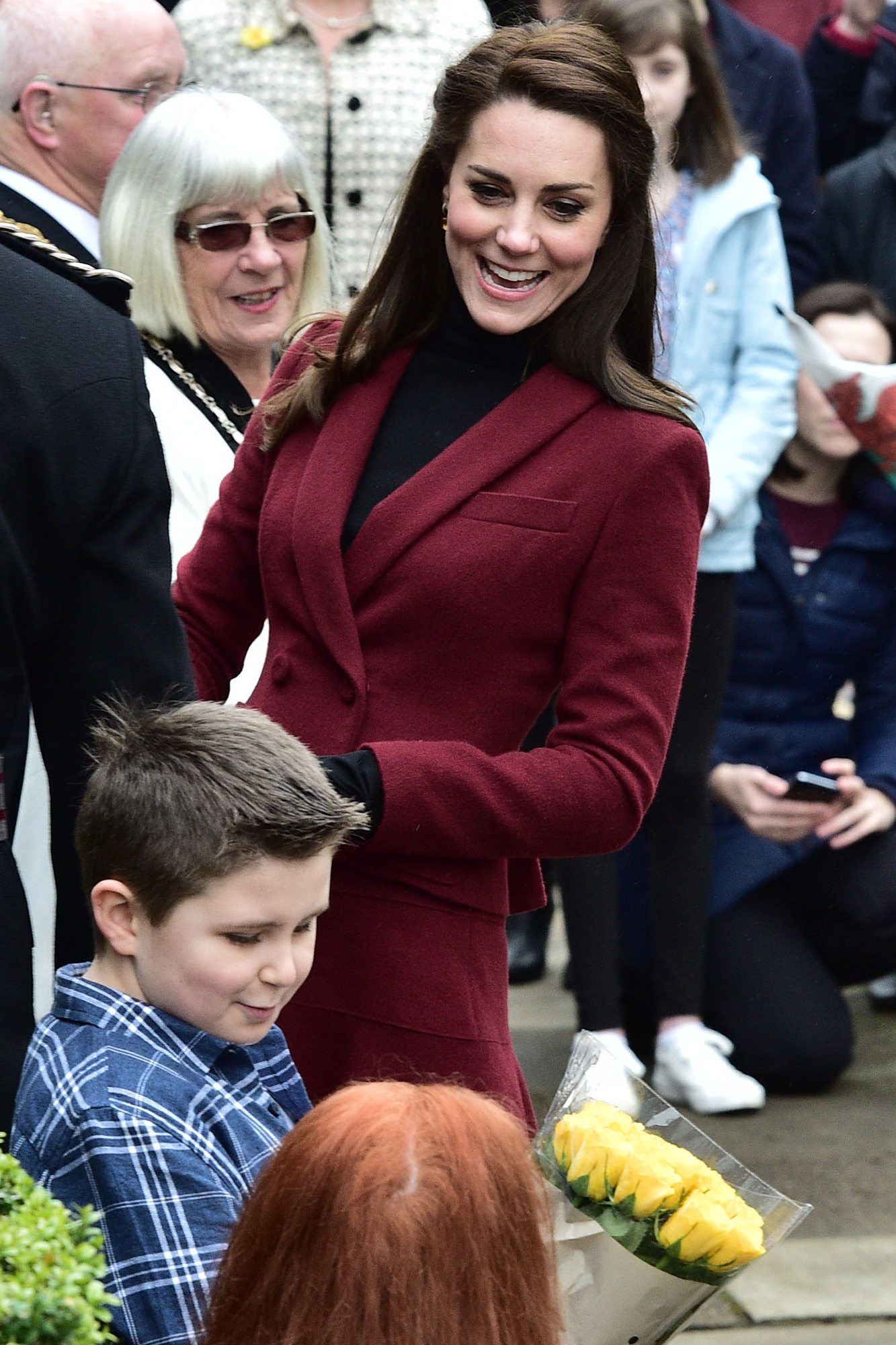 The Duchess of Cambridge arrives for a visit to MIST, a child and adolescent mental health project in Torfaen in Wales.
