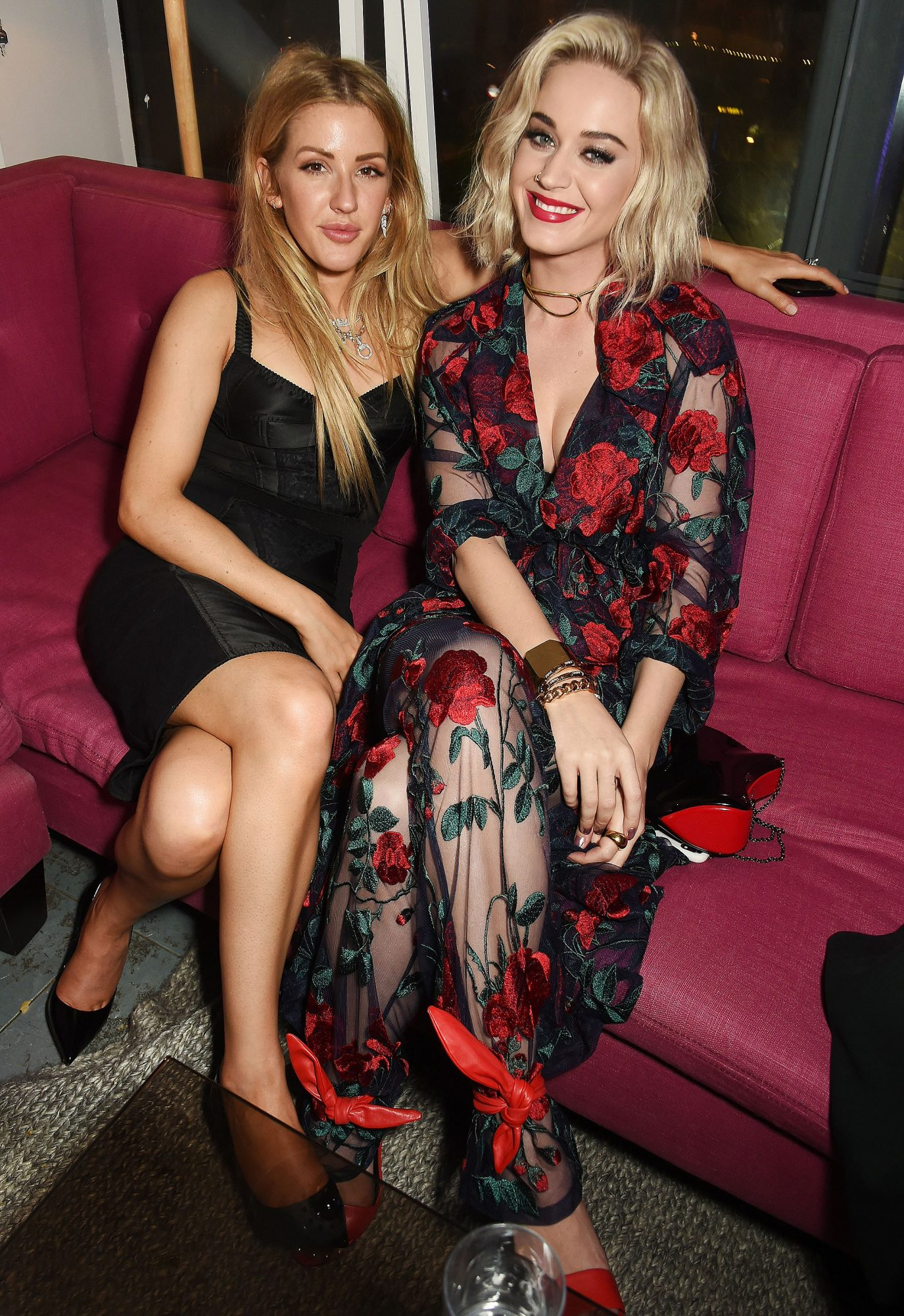 LONDON, ENGLAND - FEBRUARY 22: Ellie Goulding and Katy Perry attend (R) the Universal Music BRIT Awards After-Party 2017 hosted by Soho House and BACARDê at 180 The Strand on February 22, 2017 in London, England. (Photo by David M. Benett/Dave Benett/ Getty Images for Universal, Soho House & Bacardi Rum )