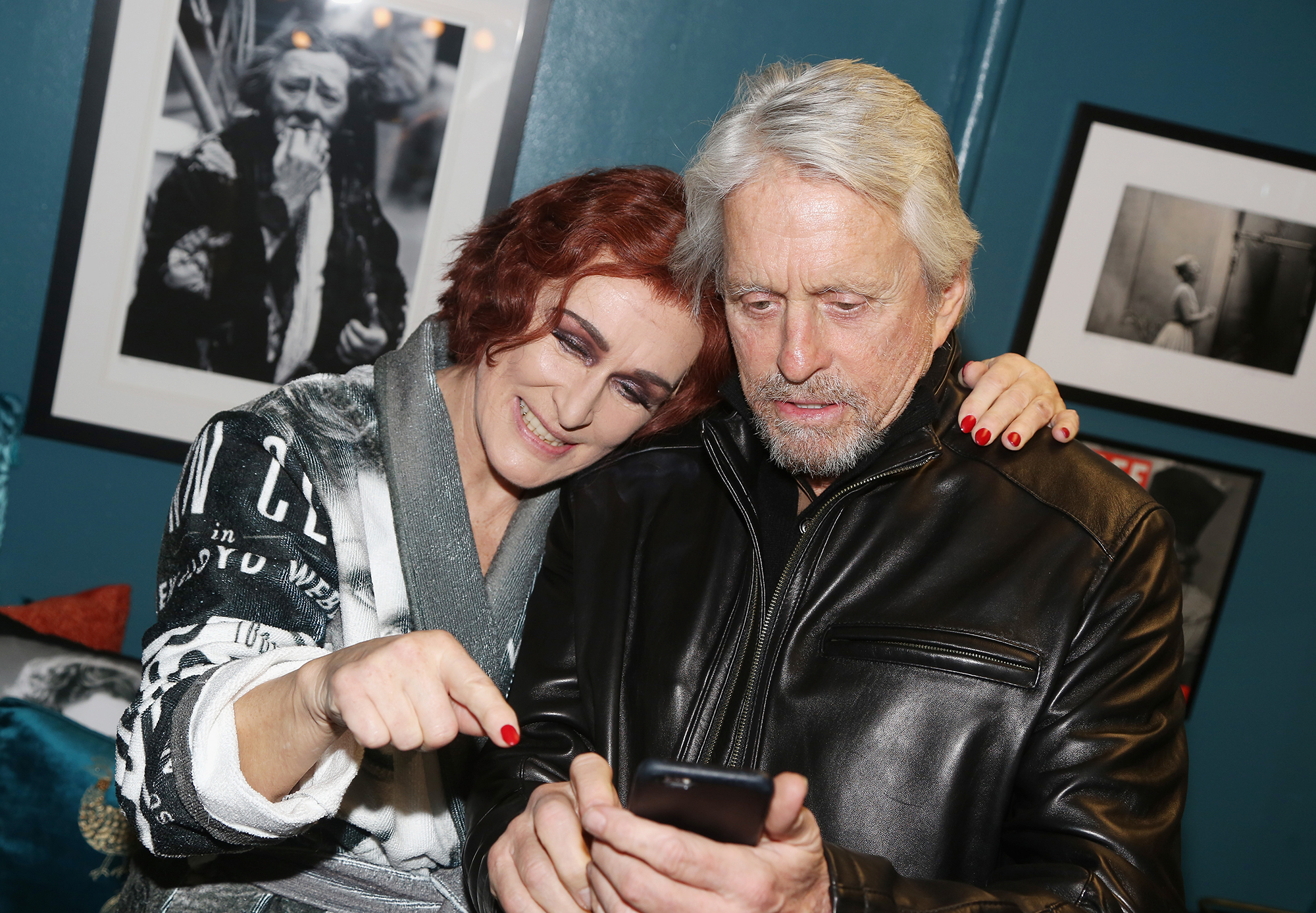 """NEW YORK, NY - FEBRUARY 22: (EXCLUSIVE COVERAGE) Glenn Close and Michael Douglas (a """"Fatal Attraction film reunion) pose backstage at the hit musical """"Sunset Boulevard"""" on Broadway at The Palace Theater on February 22, 2017 in New York City. (Photo by Bruce Glikas/Bruce Glikas/FilmMagic)"""