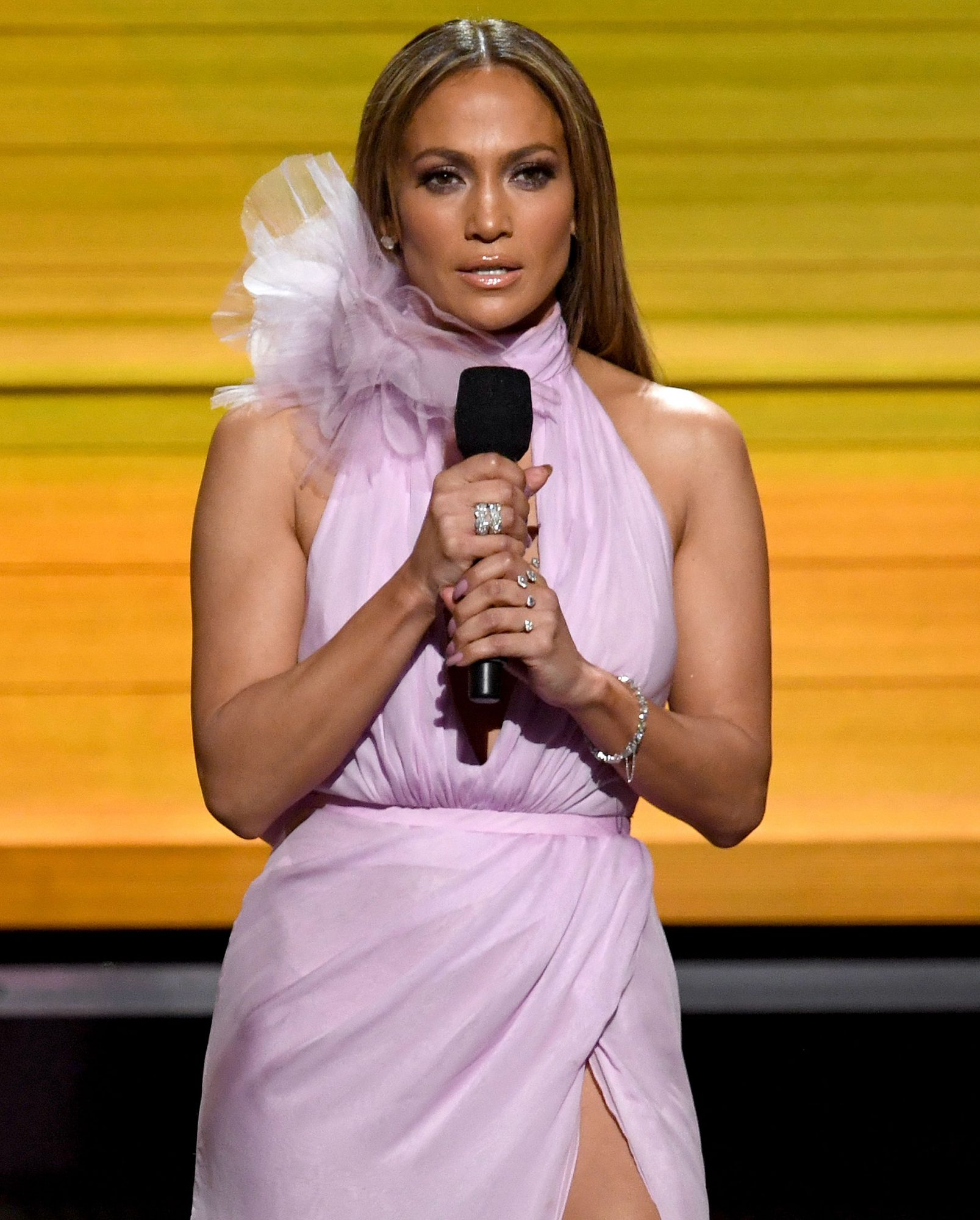 LOS ANGELES, CA - FEBRUARY 12:  Recording artist-actor Jennifer Lopez speaks onstage during The 59th GRAMMY Awards at STAPLES Center on February 12, 2017 in Los Angeles, California.  (Photo by Kevin Winter/Getty Images for NARAS)