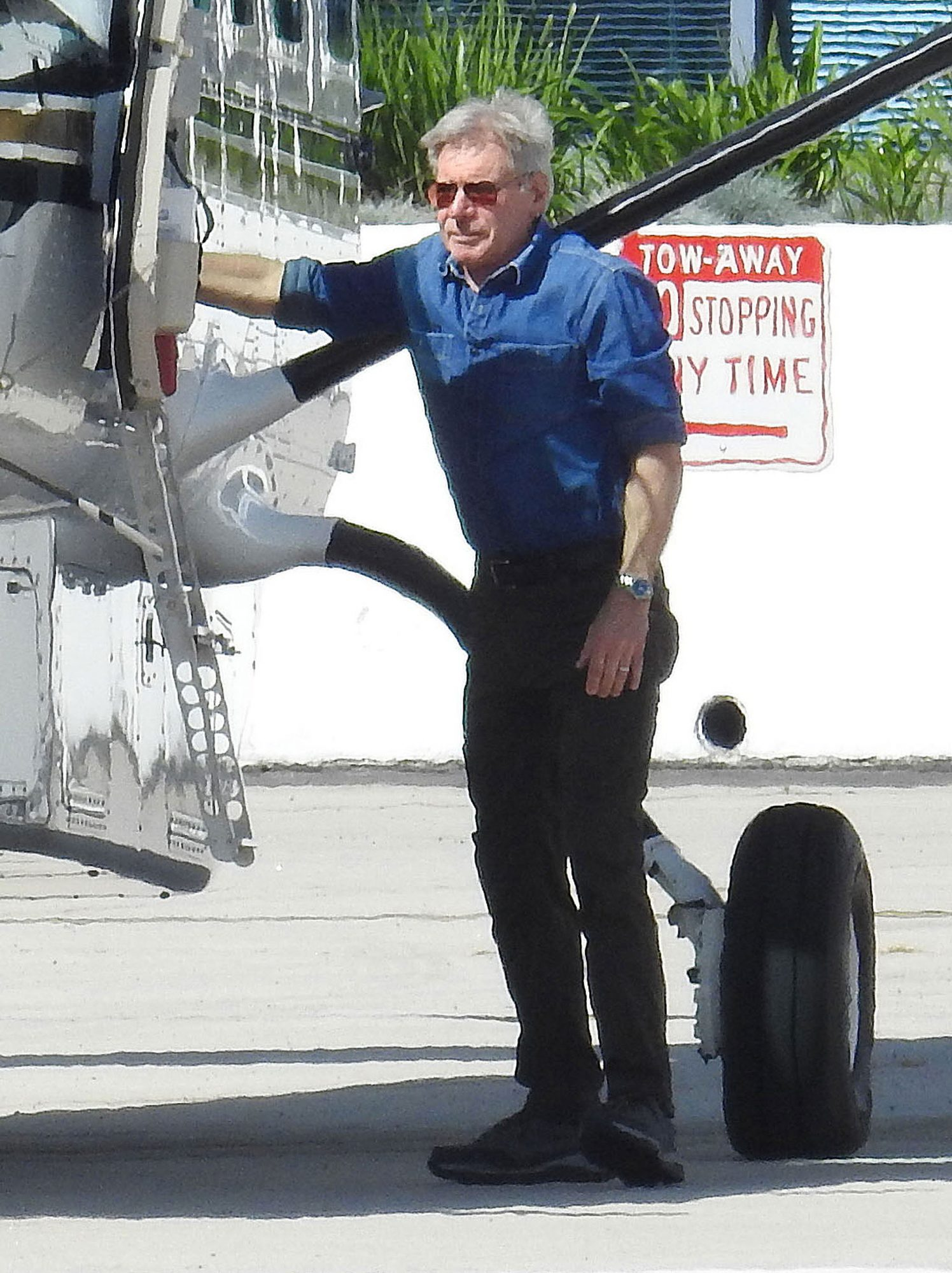 52324468 Actor Harrison Ford is seen flying his private plane out of the Santa Monica Airport in Santa Monica, California on February 24, 2017. Harrison is already back to flying after almost landing his plane on top of a jet liner last week at the John Wayne Airport in Orange County, California. FameFlynet, Inc - Beverly Hills, CA, USA - +1 (310) 505-9876