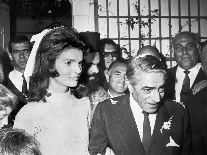 10/20/1968-Skorpios Island, Off the coast of Greece- The former Jacqueline Kennedy and Aristotle Onassis leave the chapel on Onassis' private island following their marriage here October 20th.
