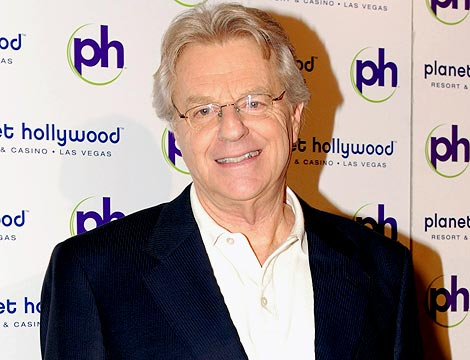 Jerry Springer is caught counting his money at the opening show of 'America's Got talent' along with other show winners at the Planet Hollywood Hotel in Las Vegas. Ref: SPL131637 081009