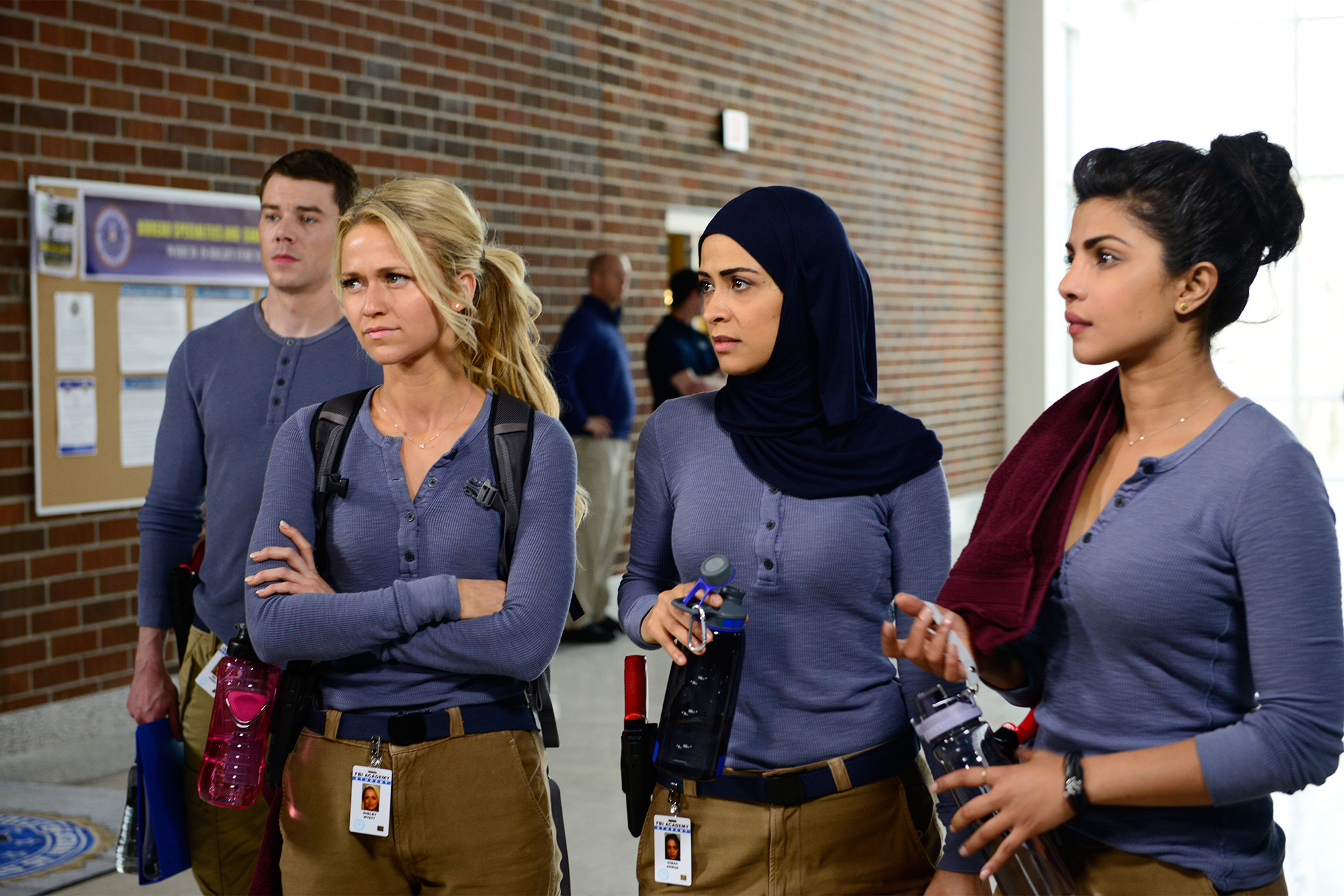"QUANTICO - A diverse group of recruits has arrived at the FBI Quantico Base for training. They are the best, the brightest and the most vetted, so it seems impossible that one of them is suspected of masterminding the biggest attack on New York City since 9/11. ""Quantico"" stars Priyanka Chopra as Alex, Dougray Scott as Liam, Jake McLaughlin as Ryan, Aunjanue Ellis as Miranda, Yasmine Al Massri as Nimah, Johanna Braddy as Shelby, Tate Ellington as Simon and Graham Rogers as Caleb. ""Quantico"" was written by Josh Safran. Executive producers are Josh Safran, Mark Gordon and Nick Pepper. ""Quantico"" is produced by ABC Studios. (Photo by Guy D'Alema/ABC via Getty Images)"