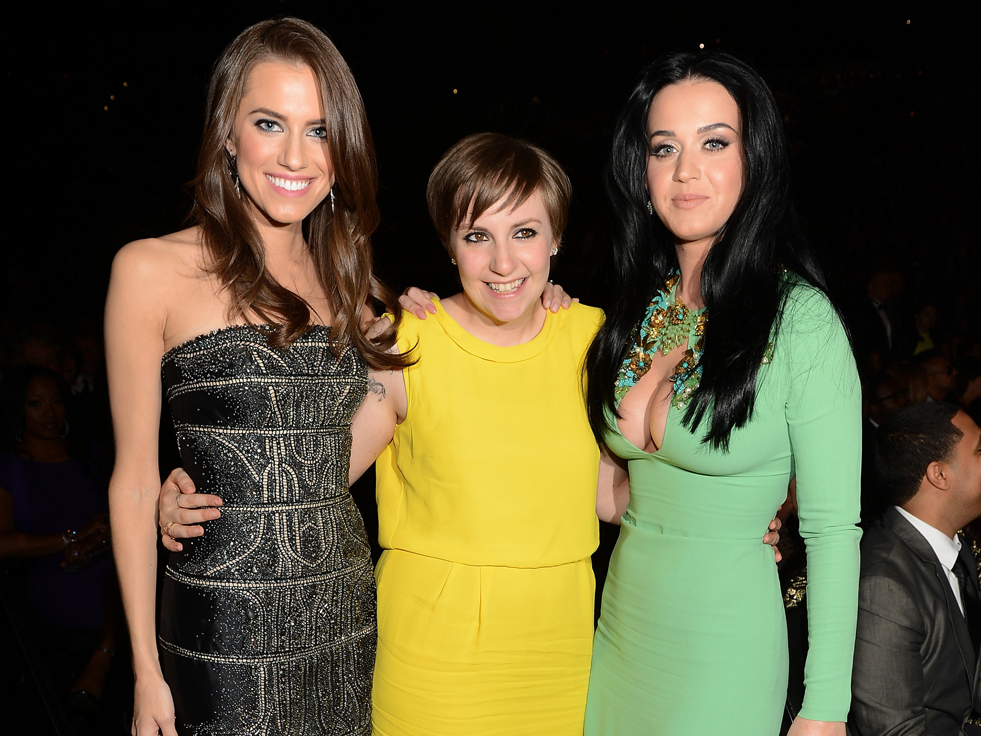 LOS ANGELES, CA - FEBRUARY 10: (L-R) Actresses Allison Williams, Lena Dunham, and singer Katy Perry attend the 55th Annual GRAMMY Awards at STAPLES Center on February 10, 2013 in Los Angeles, California. (Photo by Larry Busacca/WireImage)
