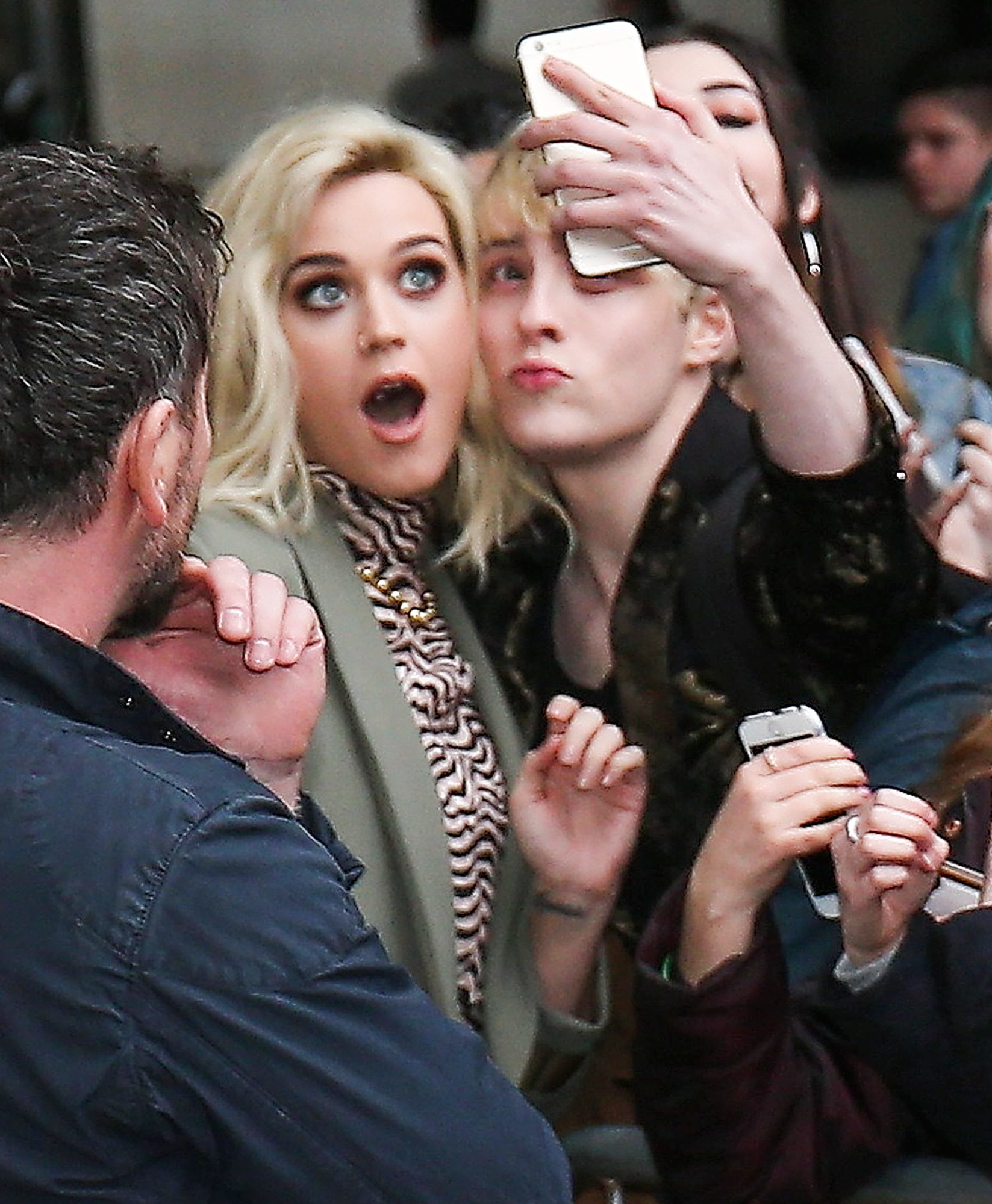 Katy Perry Greeting Her Fans At BBC Radio 1