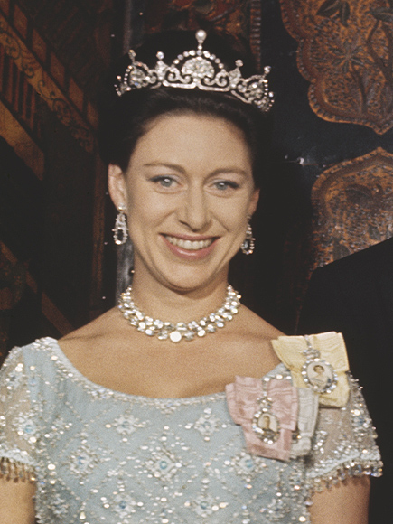 Princess Margaret, Countess of Snowdon (1930-2002) pictured wearing a tiara and ornate necklace with her husband Antony Armstrong-Jones, 1st Earl of Snowdon at an official royal engagement in 1966.. (Photo by Images)