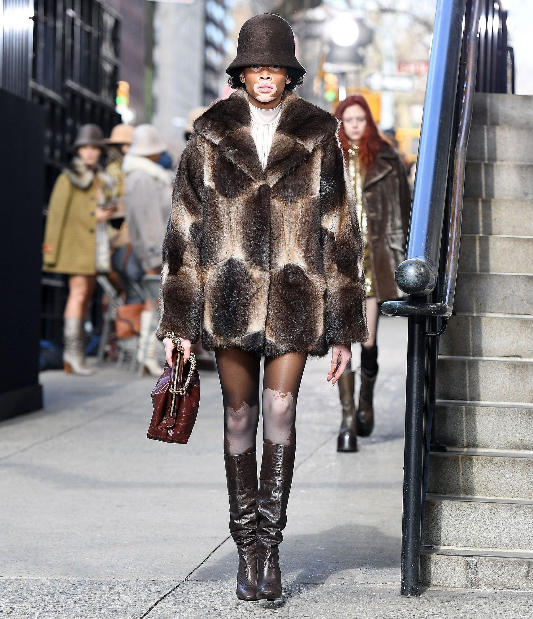Model Winnie Harlow walks the runway for the Marc Jacobs collection during New York Fashion Week on February 16, 2017, in New York City. / AFP / Angela Weiss (Photo credit should read ANGELA WEISS/AFP/Getty Images)