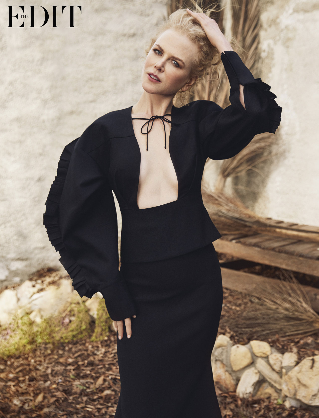 Nicole Kidman wears top by Jacquemus and skirt by Ellery. Photographed by Yelena Yemchuk for The EDIT, NET-A-PORTER.COM.