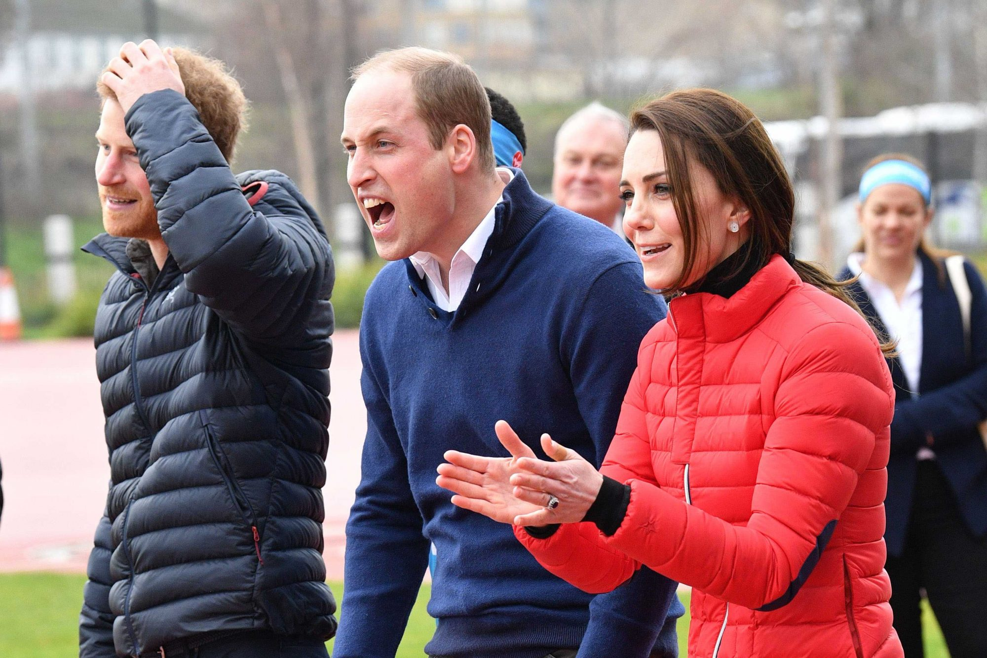 Mandatory Credit: Photo by Tim Rooke/REX/Shutterstock (8269204aj) Prince Harrym, Prince William and Catherine Duchess of Cambridge cheers on participants during training day Royals visit Team Heads Together London Marathon training day, Queen Elizabeth Olympic Park, London, UK - 05 Feb 2017 The Duke and Duchess of Cambridge and Prince Harry will attend a training day with those running for Team Heads Together in the London Marathon at the Queen Elizabeth Olympic Park