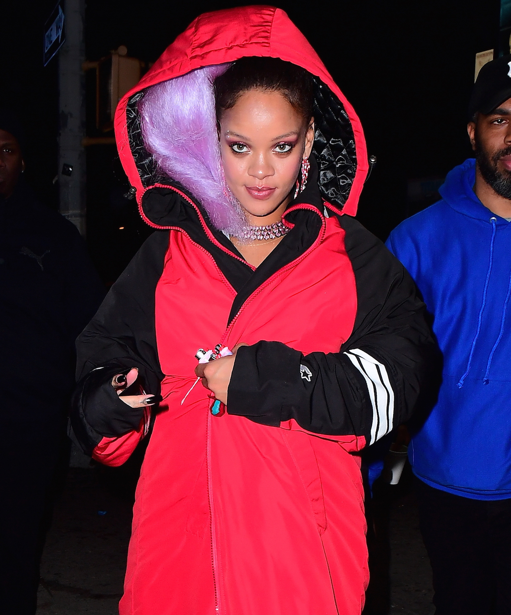 EXCLUSIVE: Rihanna Spotted with a Purple Wig for Paper Magazine Photoshoot