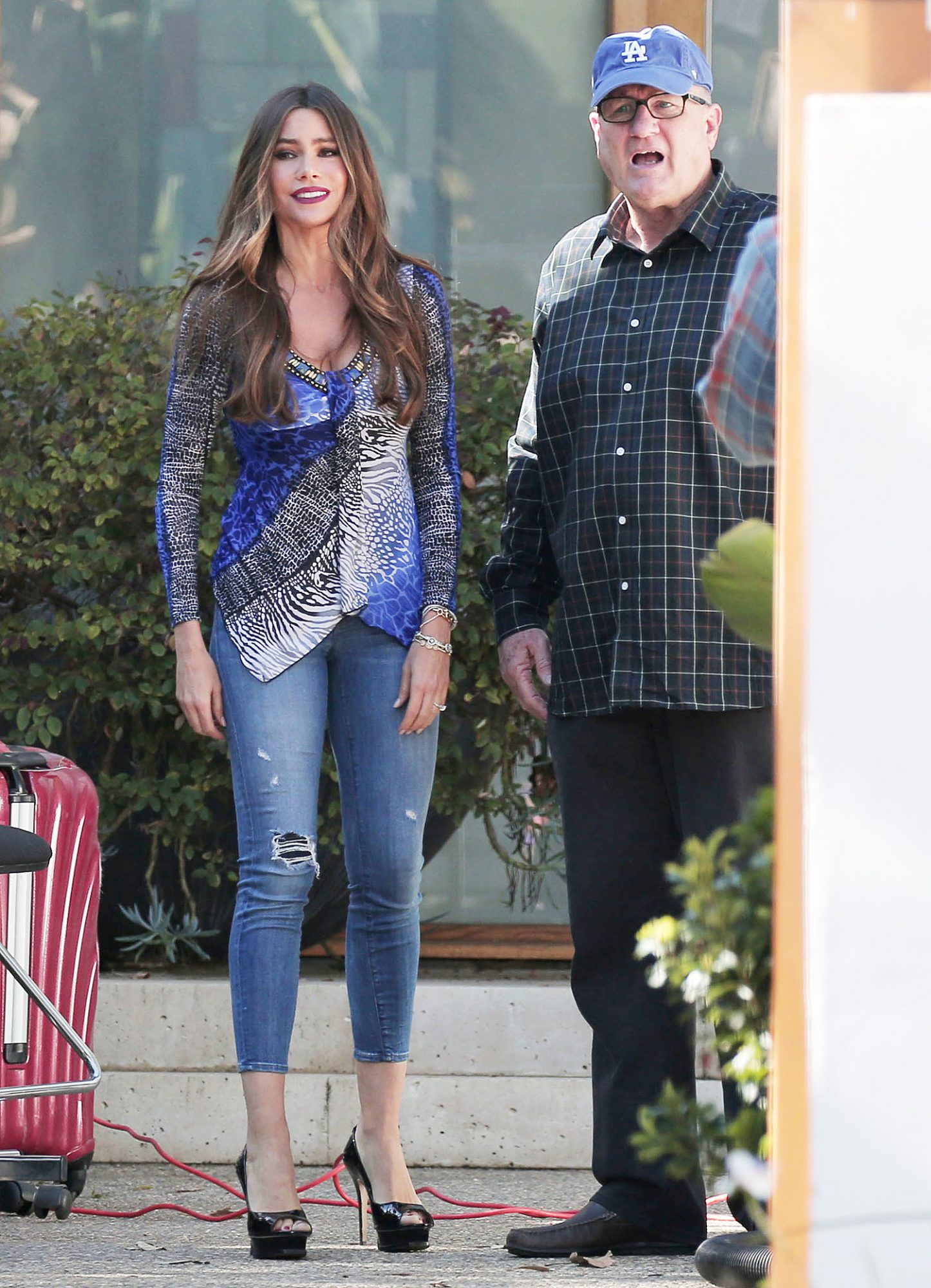 EXCLUSIVE: Sofia Vergara gets into character for yet another funny scene with on screen husband Ed O'Neill for hit TV show 'Modern Family'