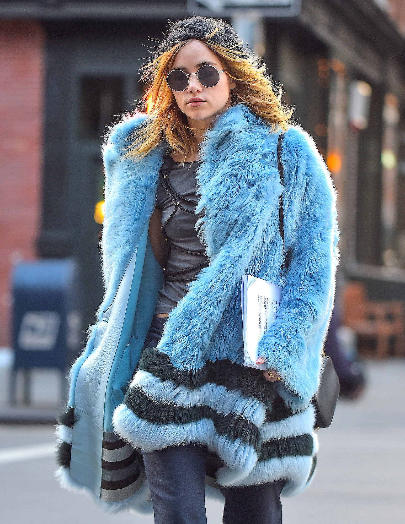 EXCLUSIVE: Suki Waterhouse is Spotted Wearing a Fantastic Blue Coat in Soho