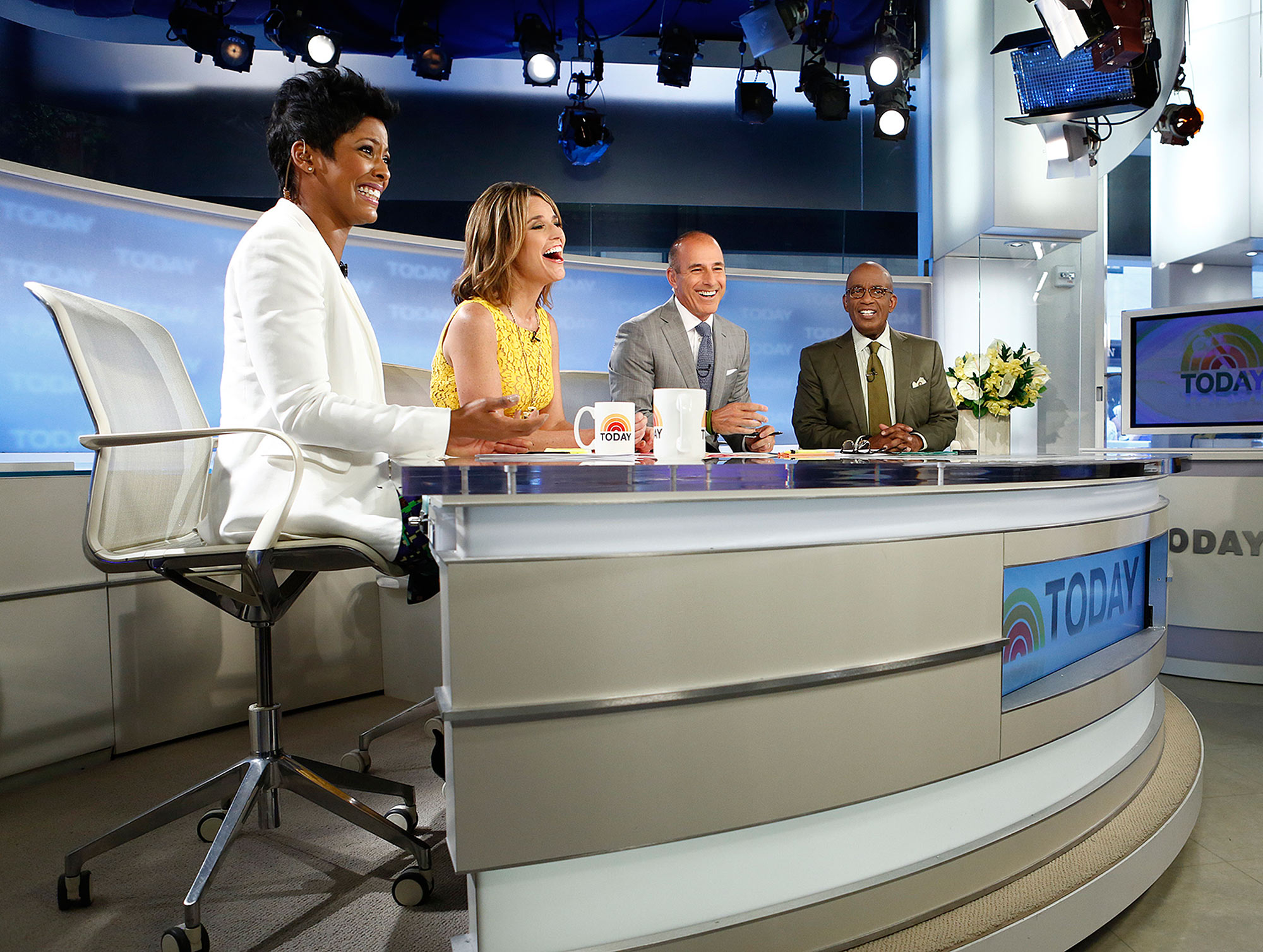"""TODAY -- Pictured: (l-r) Tamron Hall, Savannah Guthrie, Matt Lauer and Al Roker appear on NBC News' """"Today"""" show -- (Photo by: Peter Kramer/NBC/NBC NewsWire via Getty Images) Today - Season 62 2013 NBCUniversal Media, LLC. 160089814,174044089 NUP_157152_1156.jpg NBCUniversal Contributor"""
