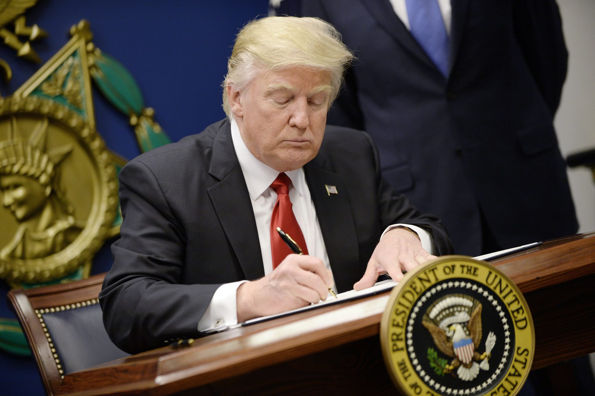 US President Trump signs Executive Orders . DC